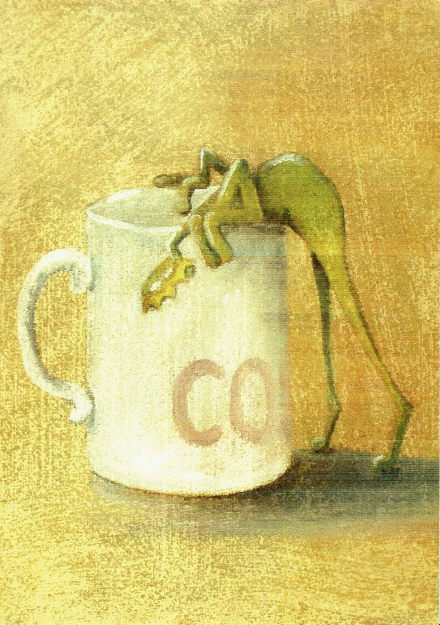 Frosch Coffee - Öl auf Leinwand 30 x 40 cm