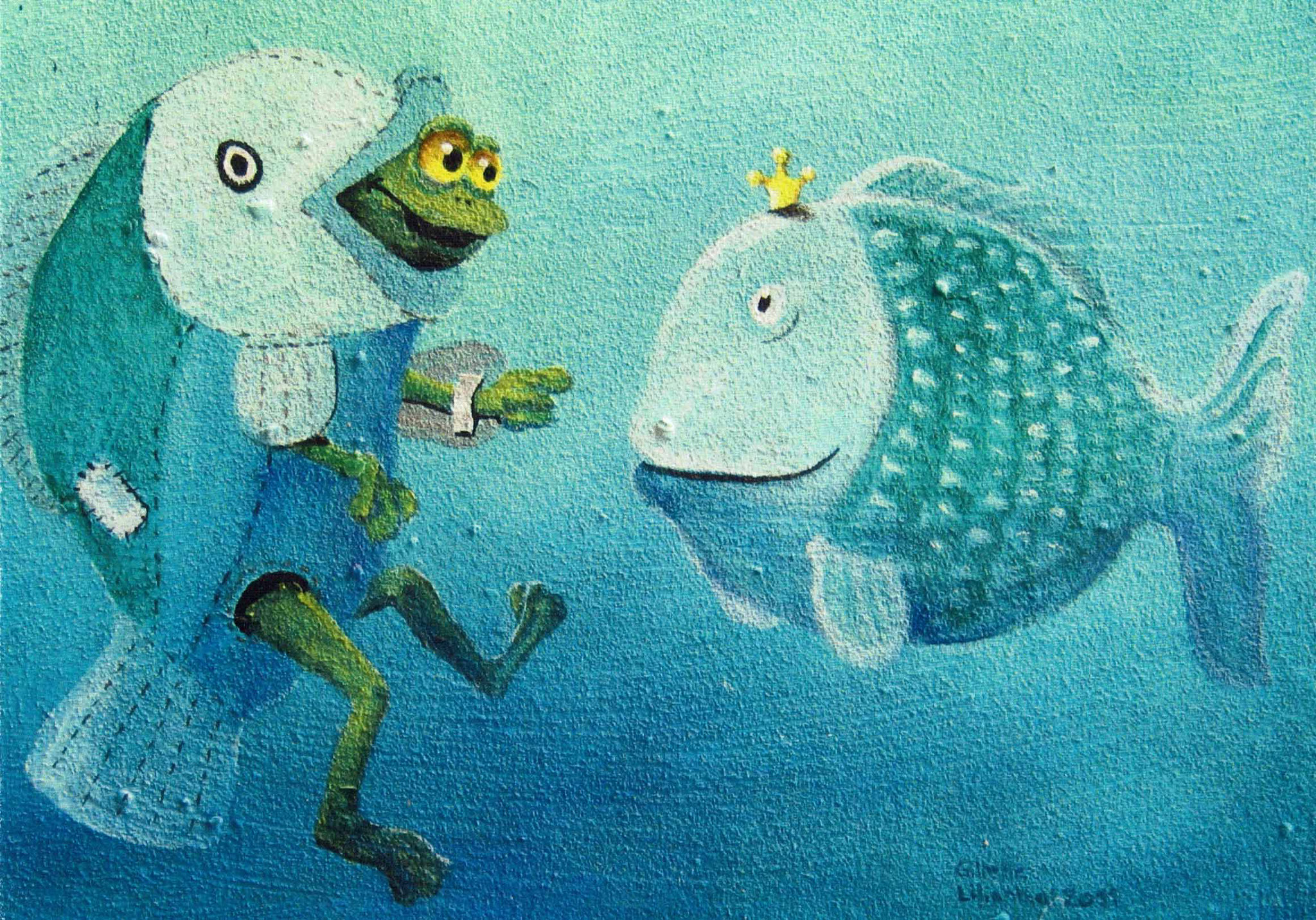 Fische - Öl auf Leinwand auf Bestellung und als Postkarte