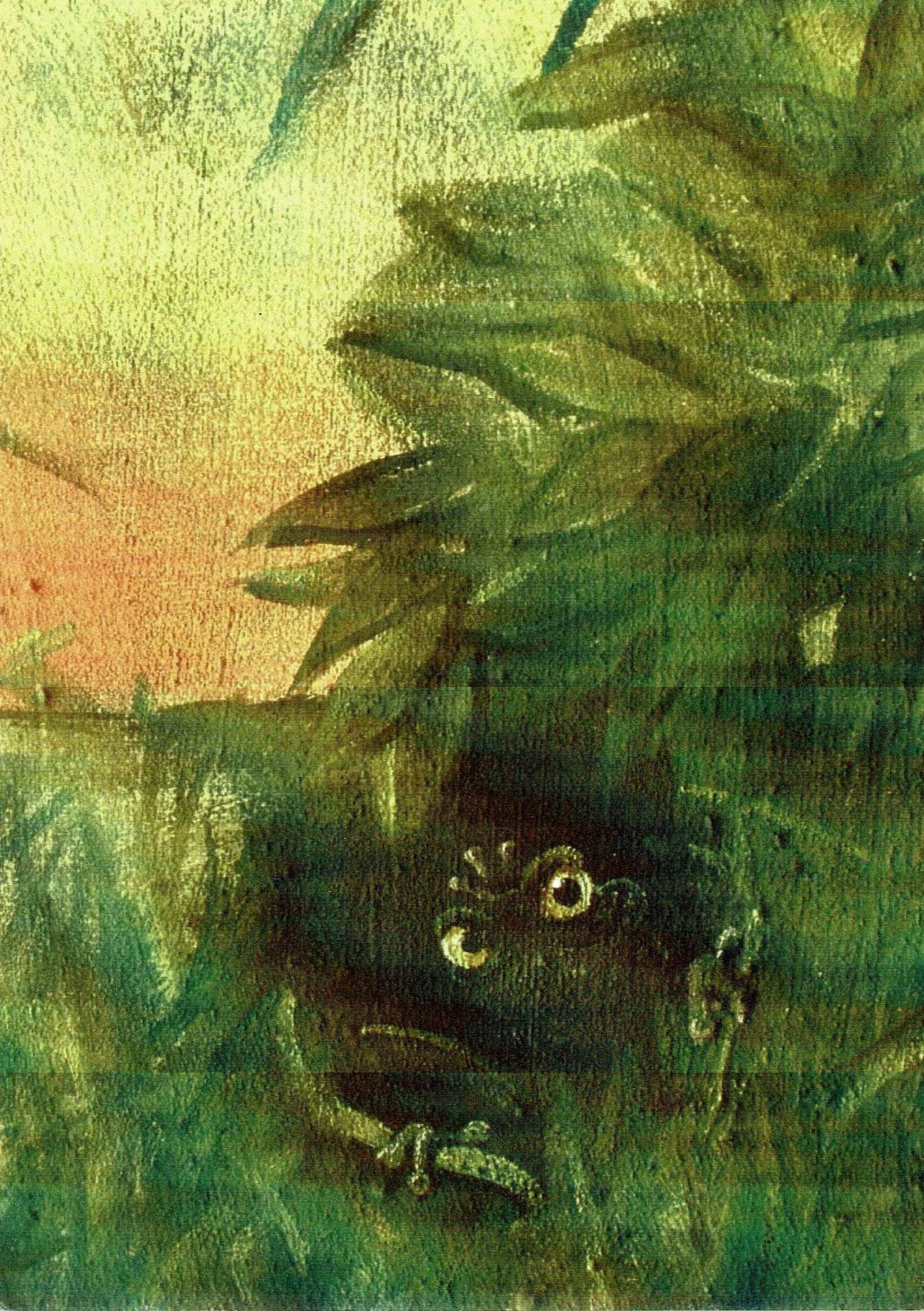 Froschkönig in dunkler Ecke - Öl auf Leinwand 30 x 40 cm