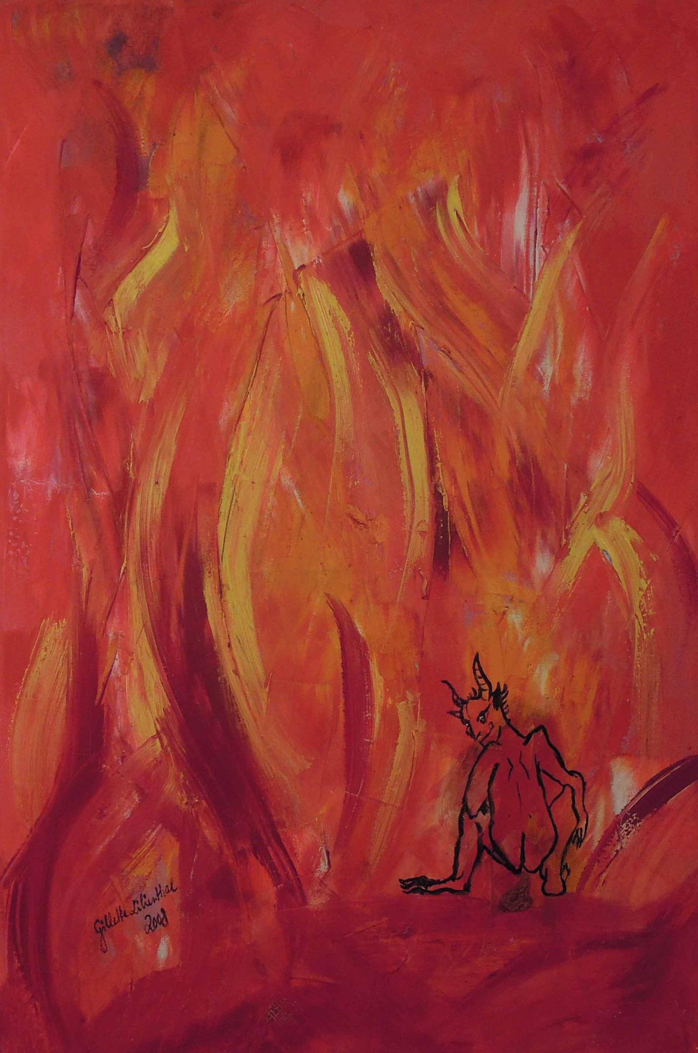 Der Teufel kackt immer auf die gleiche Stelle - Öl auf Leinwand 40 x 60 cm