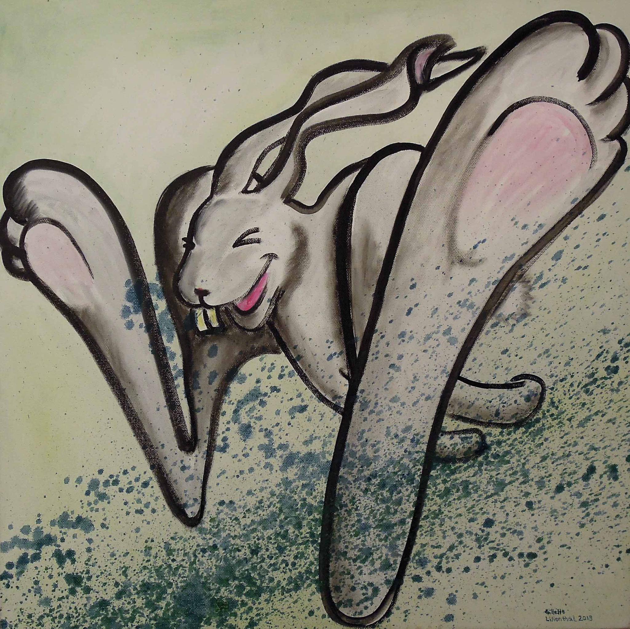 Folge dem weißen Kaninchen - wenn Du kannst - Öl auf Leinwand 50 x 50 cm