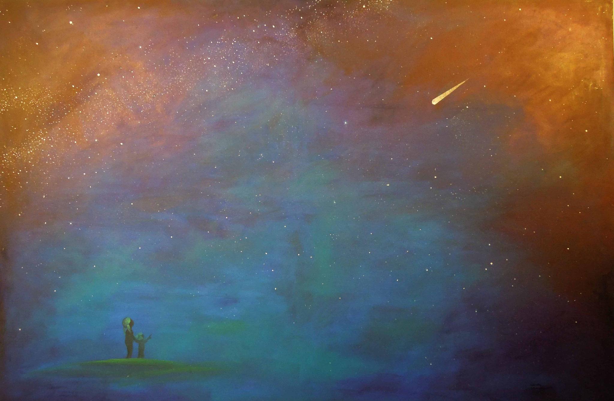Kai und Lou warten auf Len - Öl auf Leinwand 150 x 100 cm
