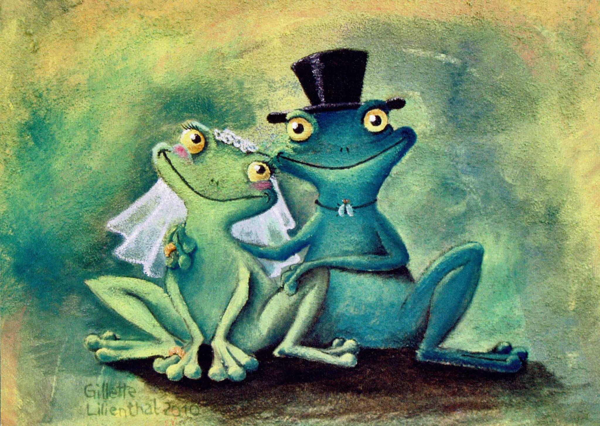 Frosch Brautpaar - Öl auf Leinwand 30 x 40 cm