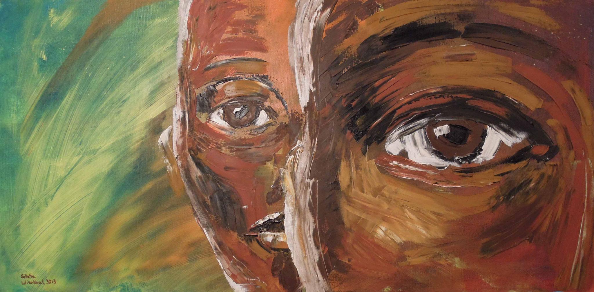 Double Take - Öl auf Leinwand 80 x 40 cm