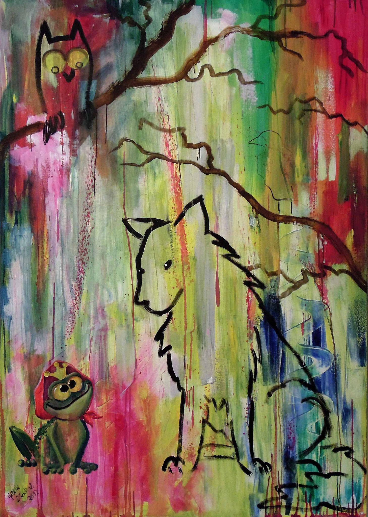 Märchenwald - Öl auf Leinwand 100 x 140 x 10 cm