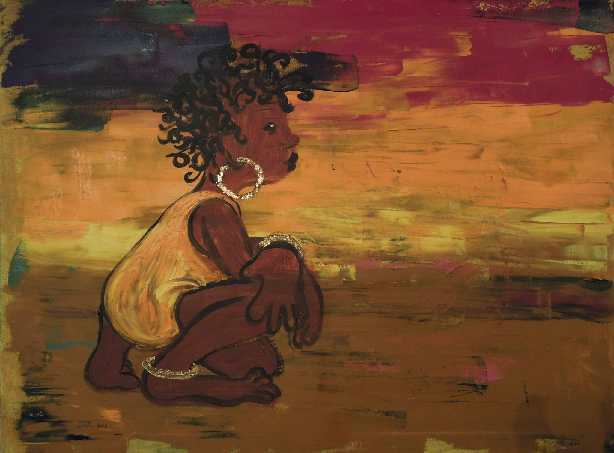 Little African Girl - Öl auf Leinwand 80 x 60 cm