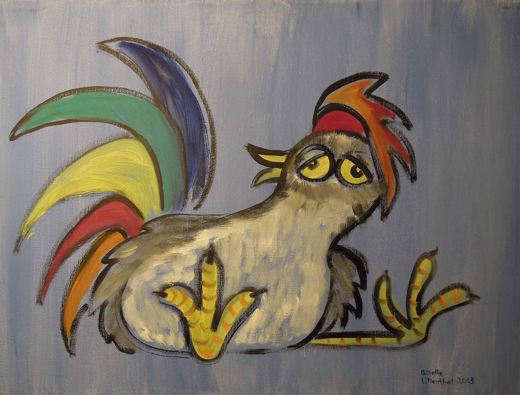 Schräger Vogel der redet wie ihm der Schnabel gewachsen ist - Öl auf Leinwand 40 x 30 cm