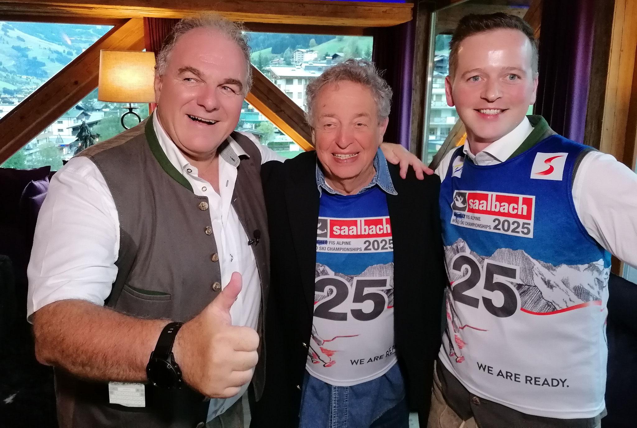 Kurt Matz (Mitte) mit Saalbach Delegationsleiter Bartl Gensbichler (li) und BGM Hasenauer (re)