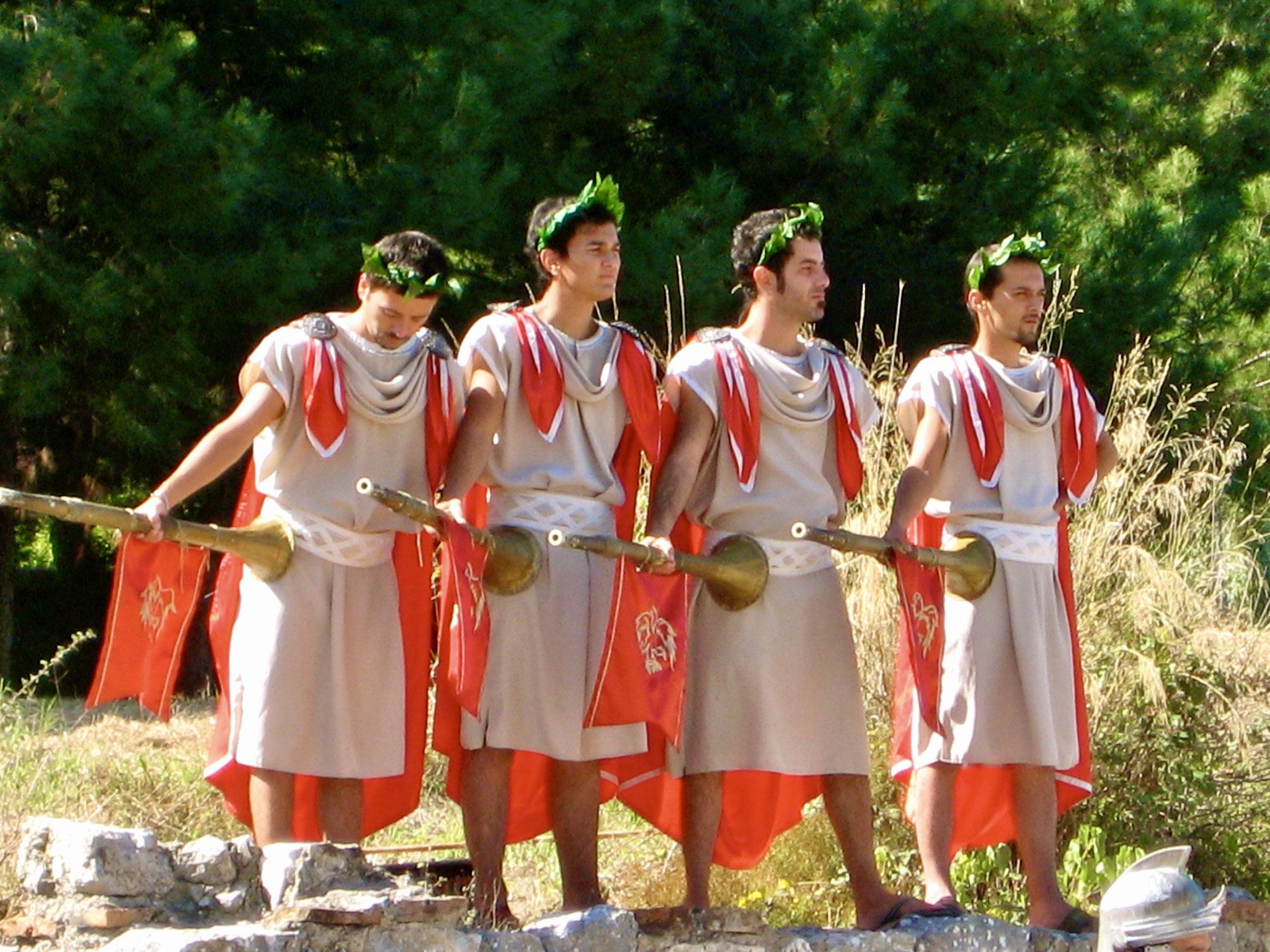 "Troubadours with ""vuvuzelas"" on the Arkadiane (Harbor Street), Ephesus (Selçuk)"