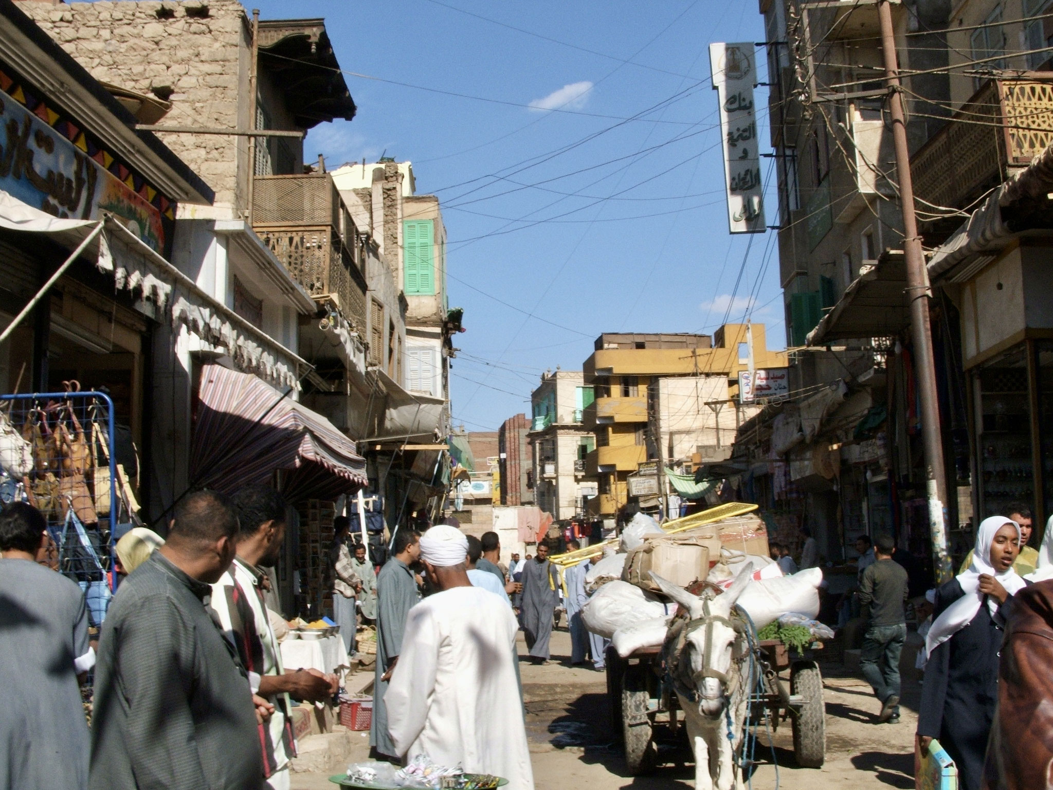 Aswan bustle and laden cart