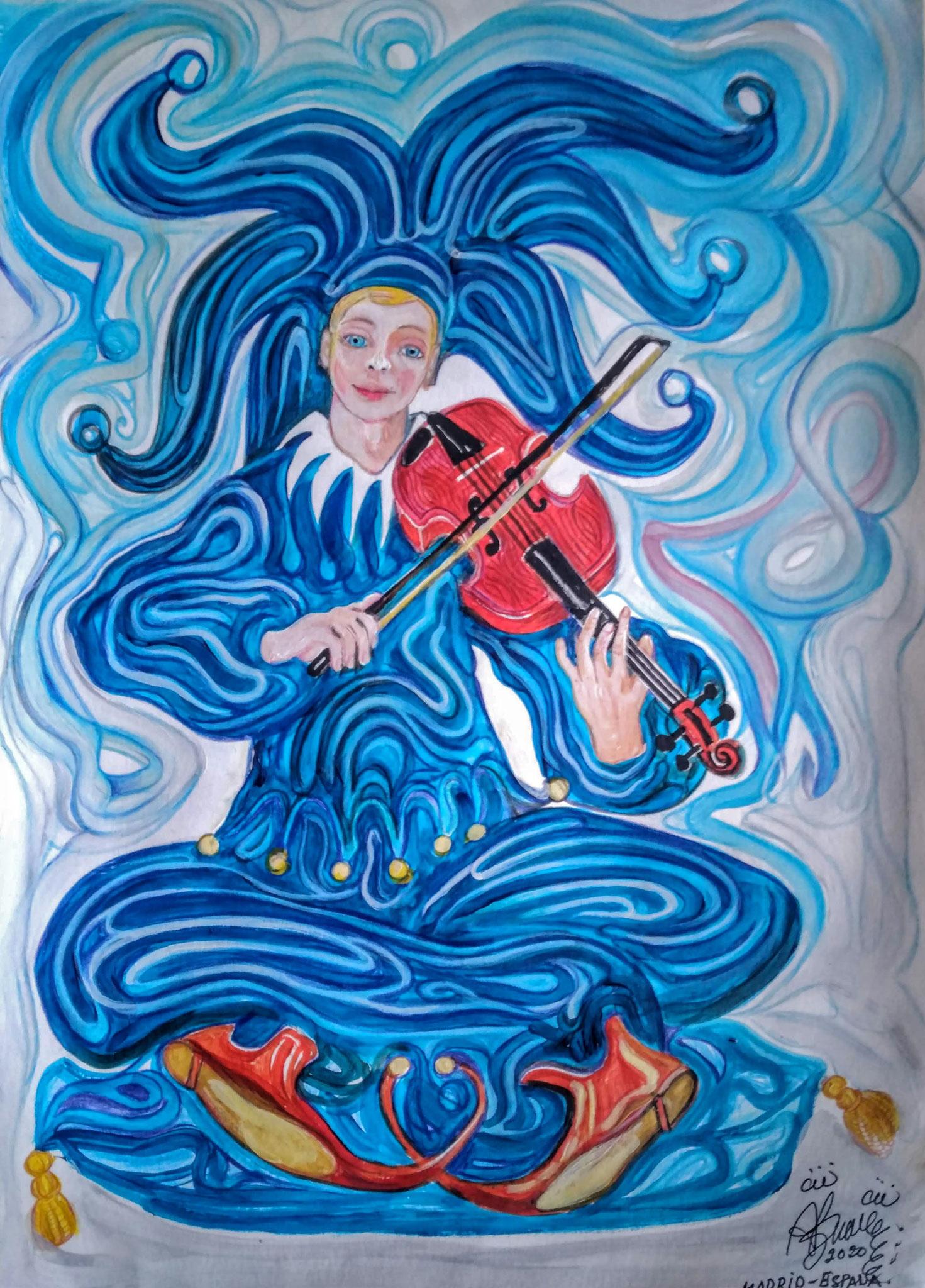 Arlequín violinista / Técnica mixta / 2020