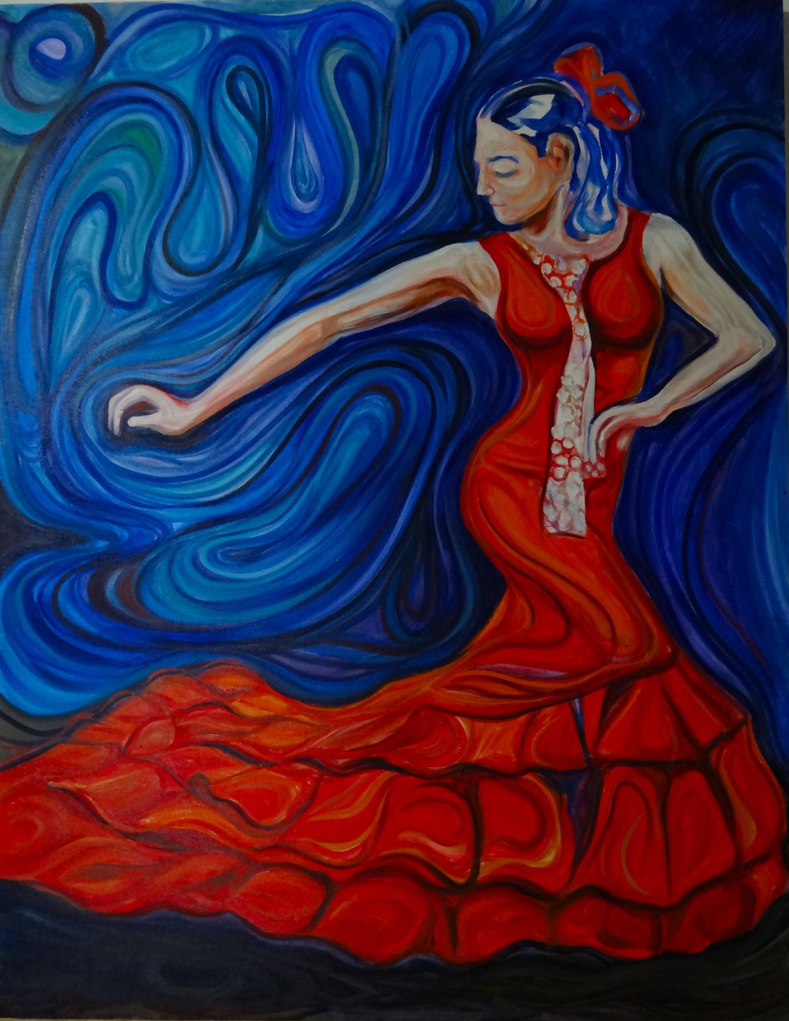 Bailarina de flamenco / Óleo sobre lienzo/ 90 x 70 cm /2018