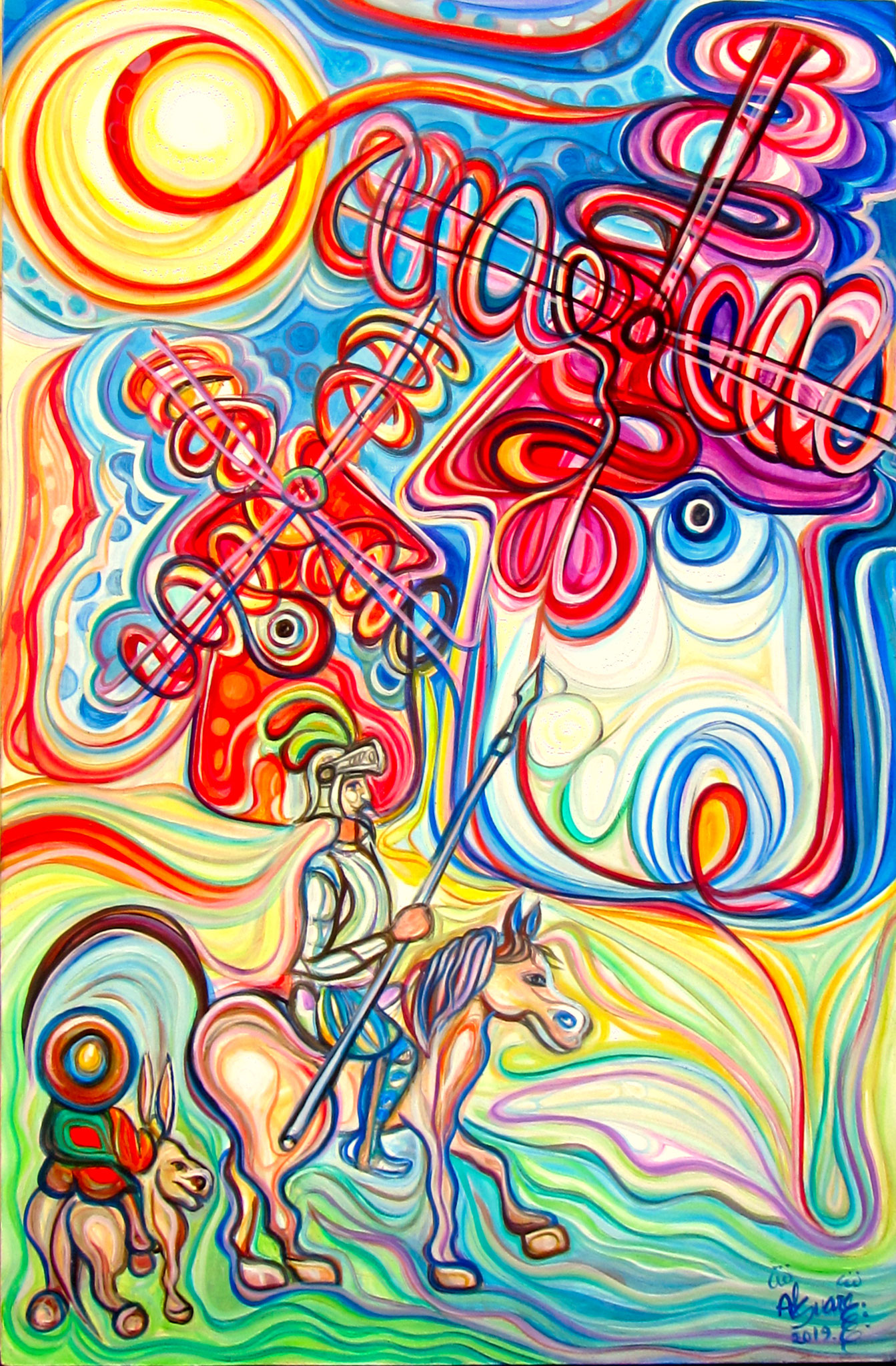 Don Quijote y Sancho en los molinos de viento / Óleo sobre lienzo / 100 x 70 cm / 2019