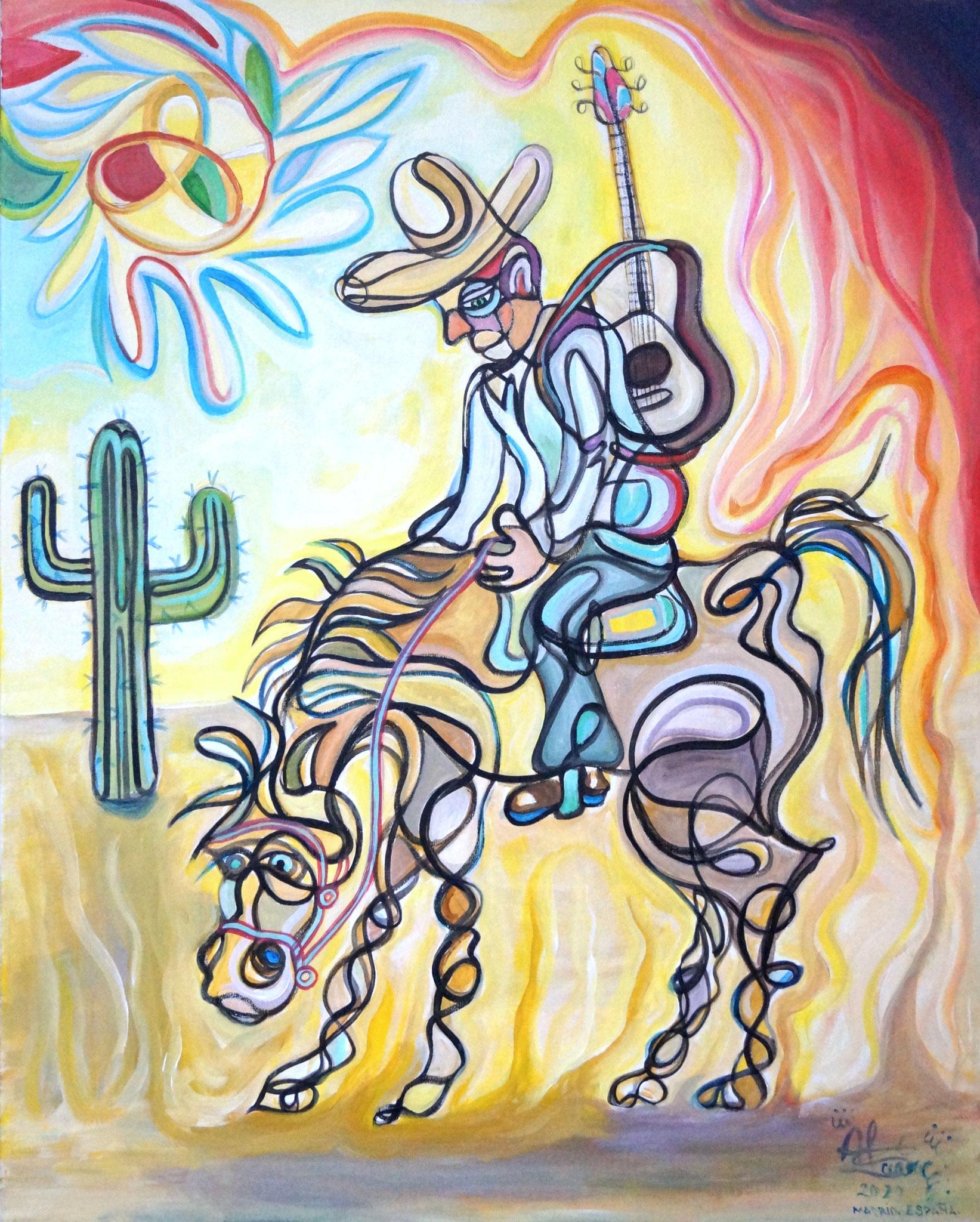 Charro en el desierto/ Acrílico sobre lienzo / 81 x 65 cm/ 2020