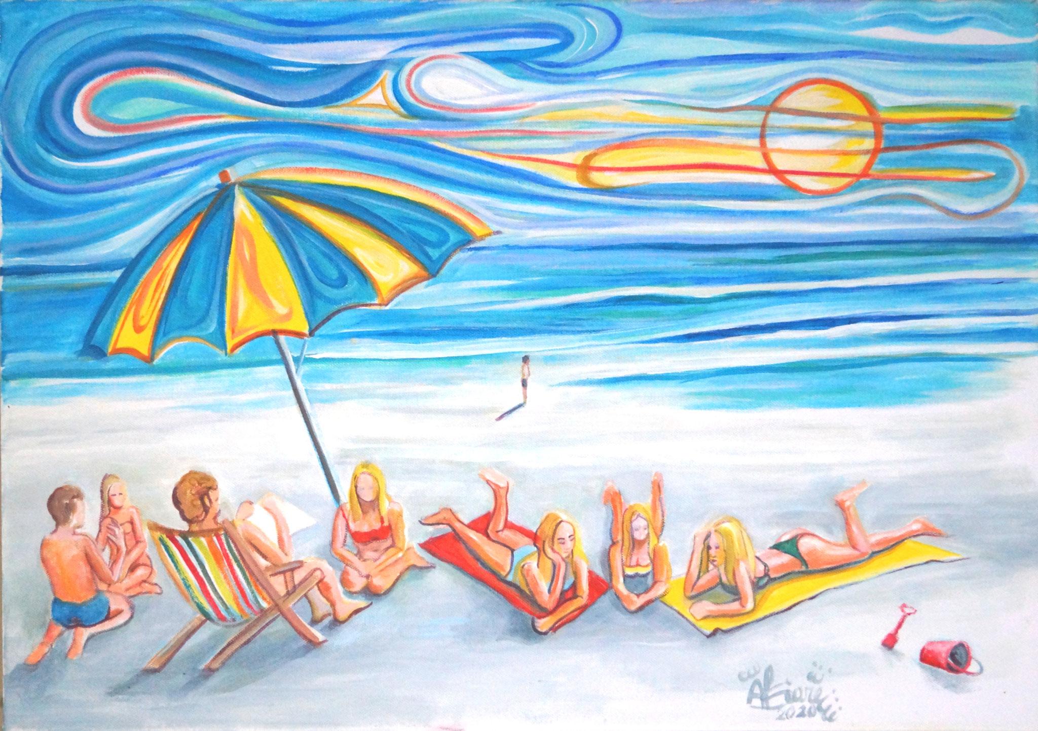Playa / Acríllico sobre lienzo/ 70 x 50 cm / 2020