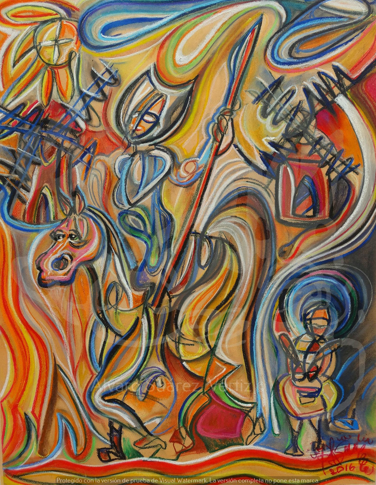 Don Quijote y Sancho en los molinos de viento / Óleo sobre canson / 65 x 50 cm / 2016