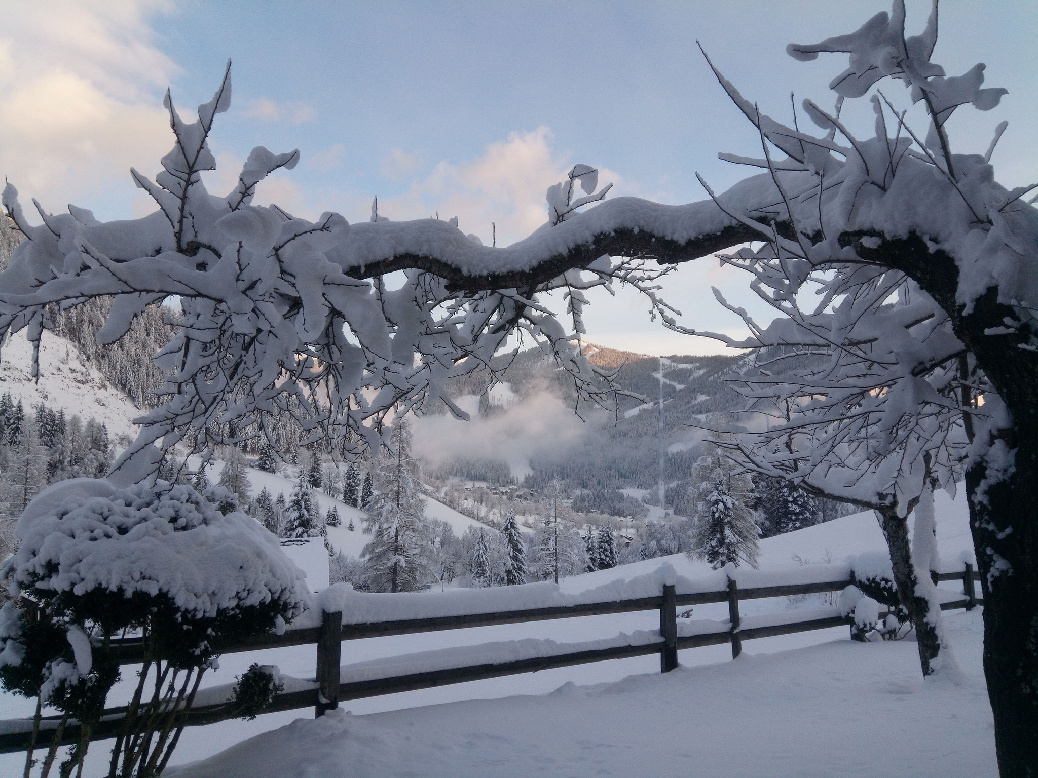 verschneiter Blick Richtung Bad Kleinkirchheim