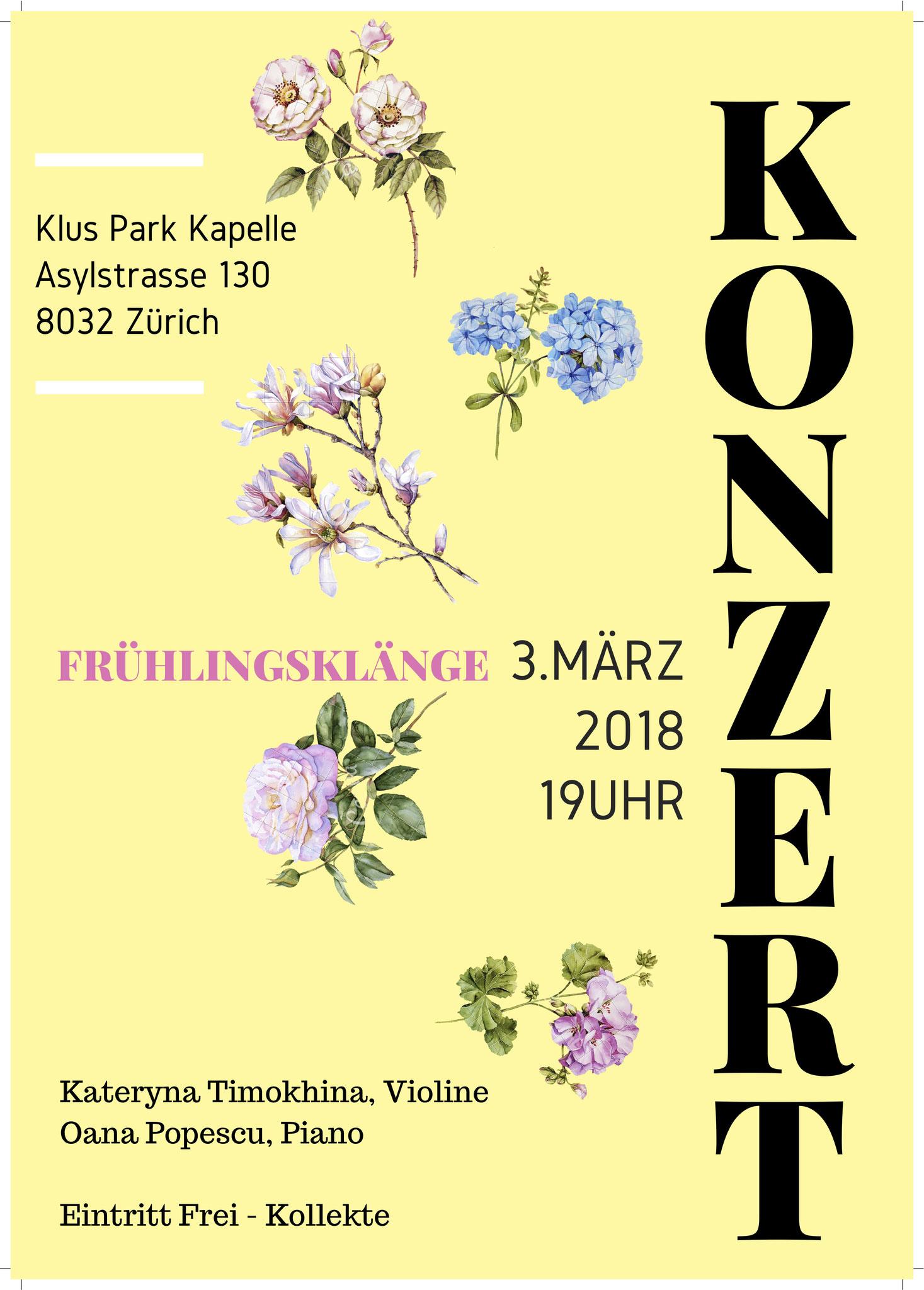 Kammermusik Konzert 3. März 2018, Kateryna Timokhina, Oana Popescu