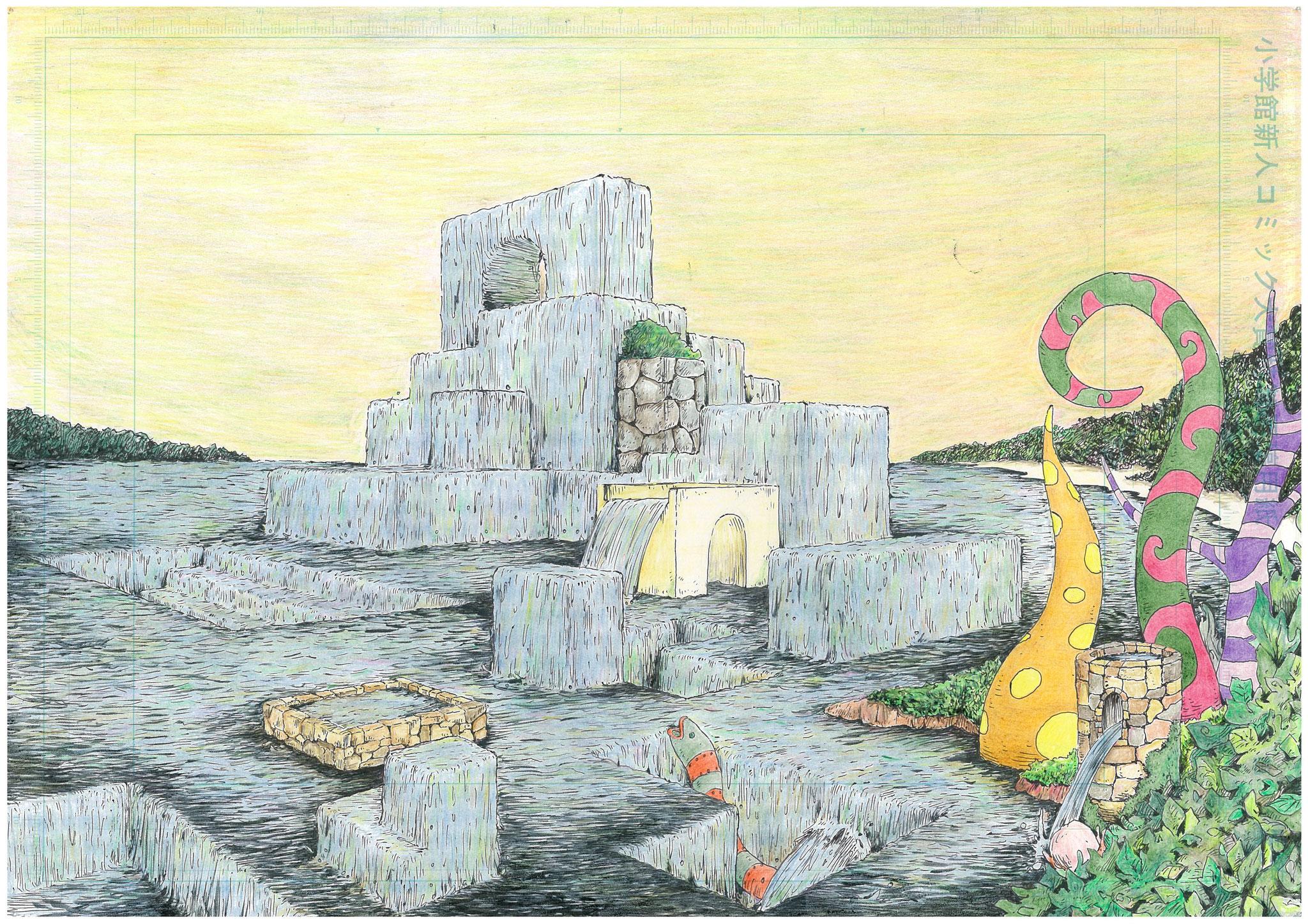 記憶力を簡単に上げる事ができる記憶術の根幹である 『 街(場所) 』 『 想像力(イメージ力) 』 を具現化する 『 アトリエきよし(吉村清:福岡の思想家・漫画家・イラストレーター) 』 氏 作品。