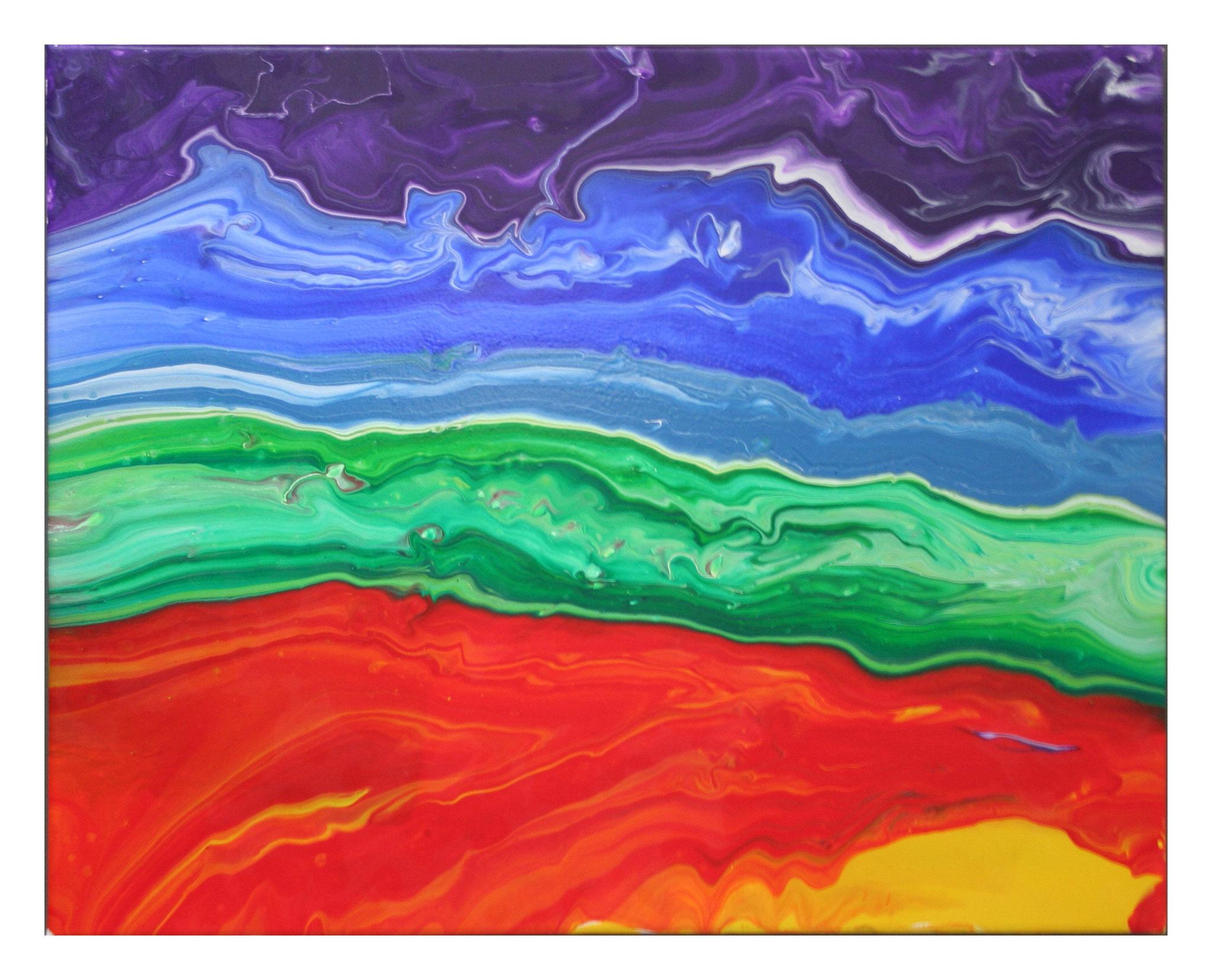 """""""Rainbow Layers"""" Acryl auf Leinwand 40x50cm"""
