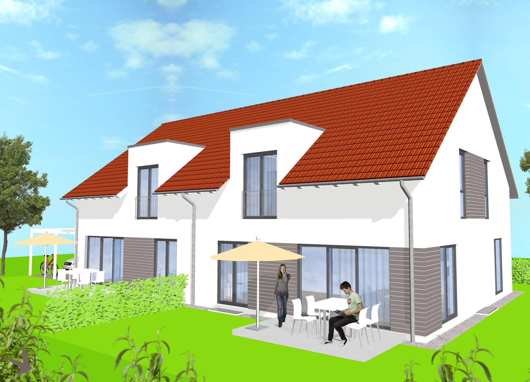 Doppelhaus Schwalbenflug Gartenansicht