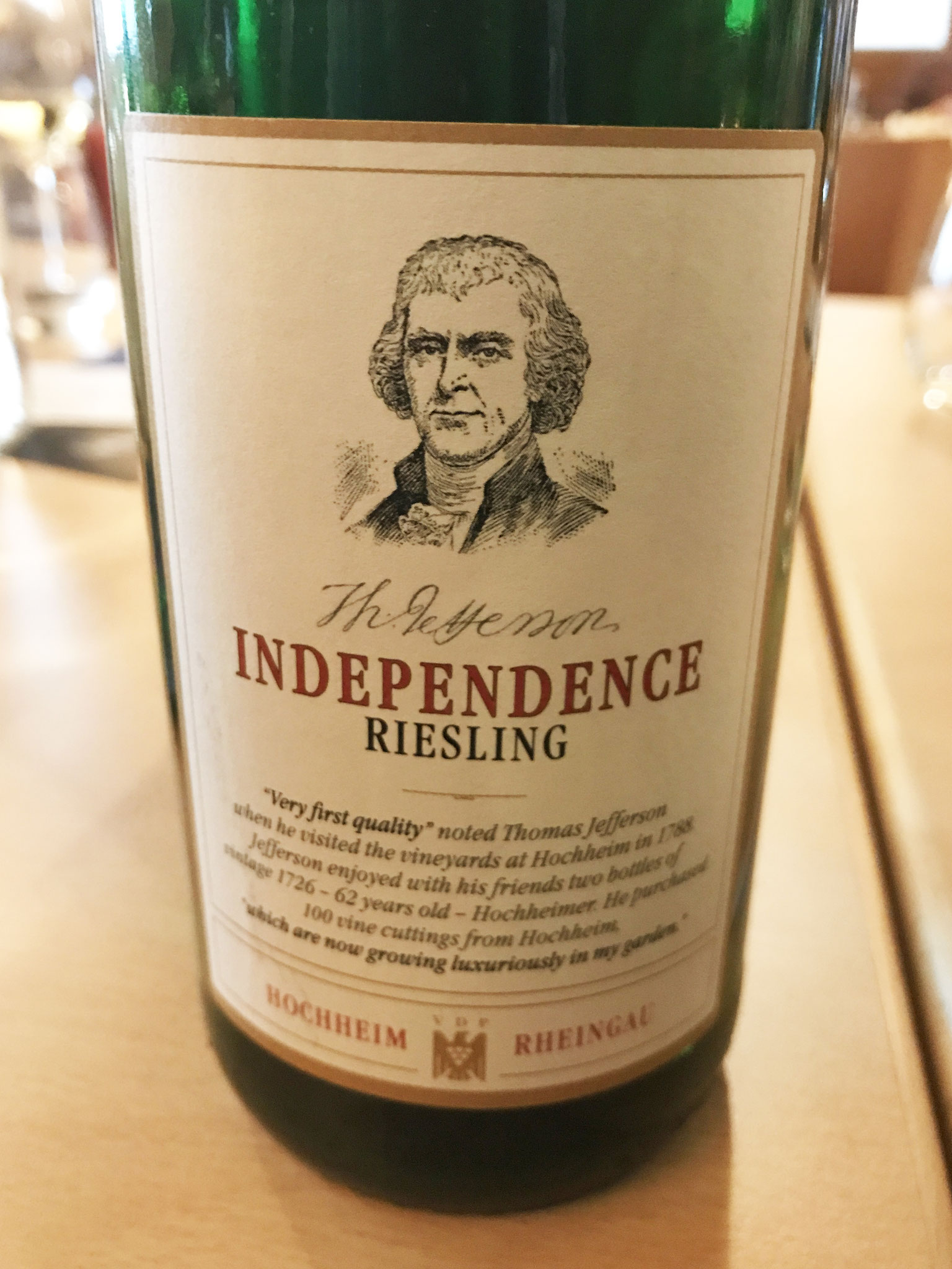 The Jefferson Independence Riesling from Hochheim