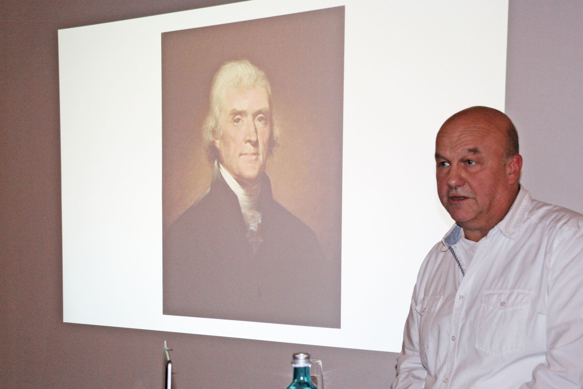 The lecture focused on Jefferson as a wine expert.