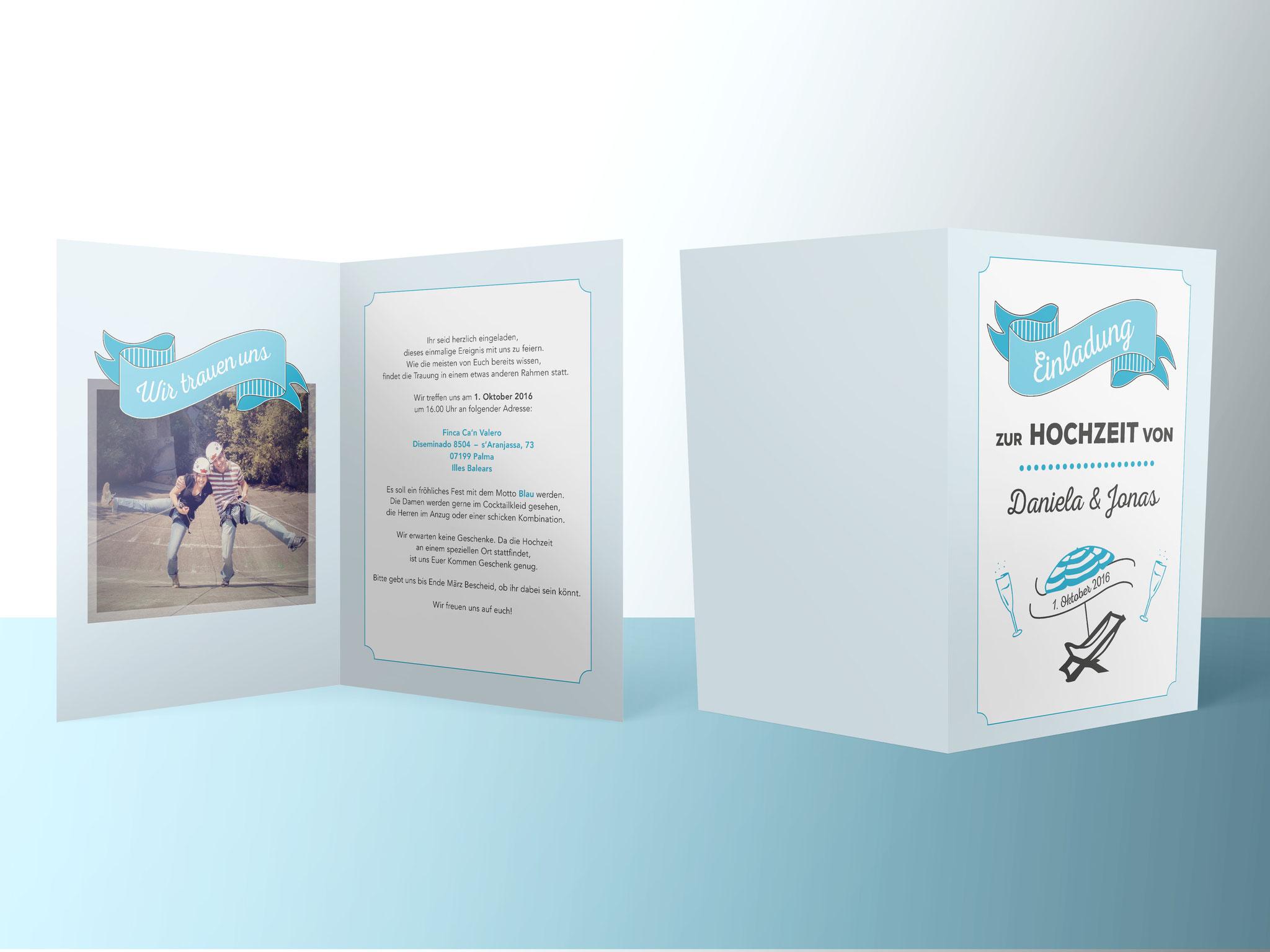 Hochzeitskarte «Blau»