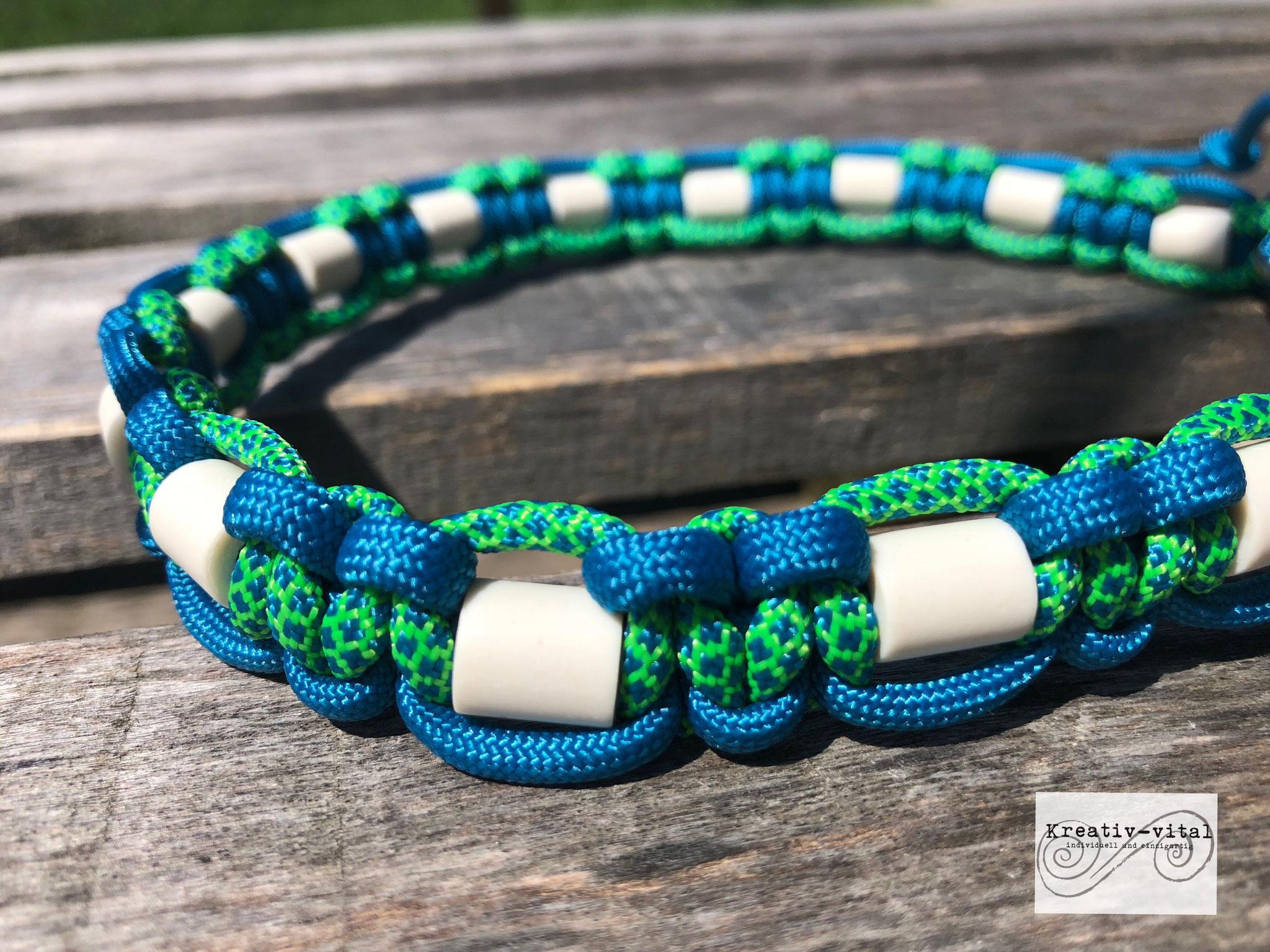 EM Keramik Halsband für Hund/Katze 46-50cm Halsumfang Caribbean Blue/neon green Caribbean blue