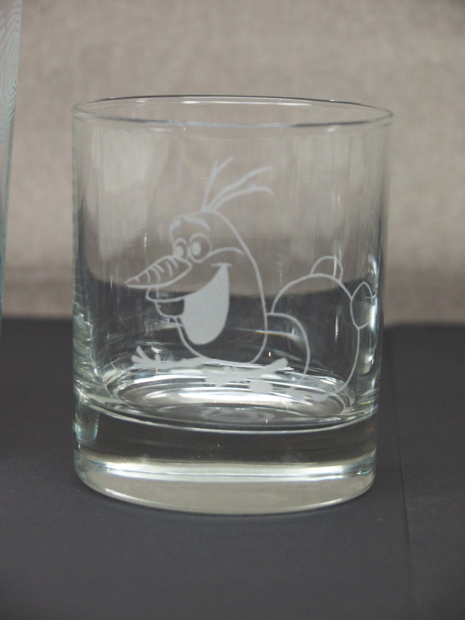 Glas Sandgestrahlt Motiv Olaf