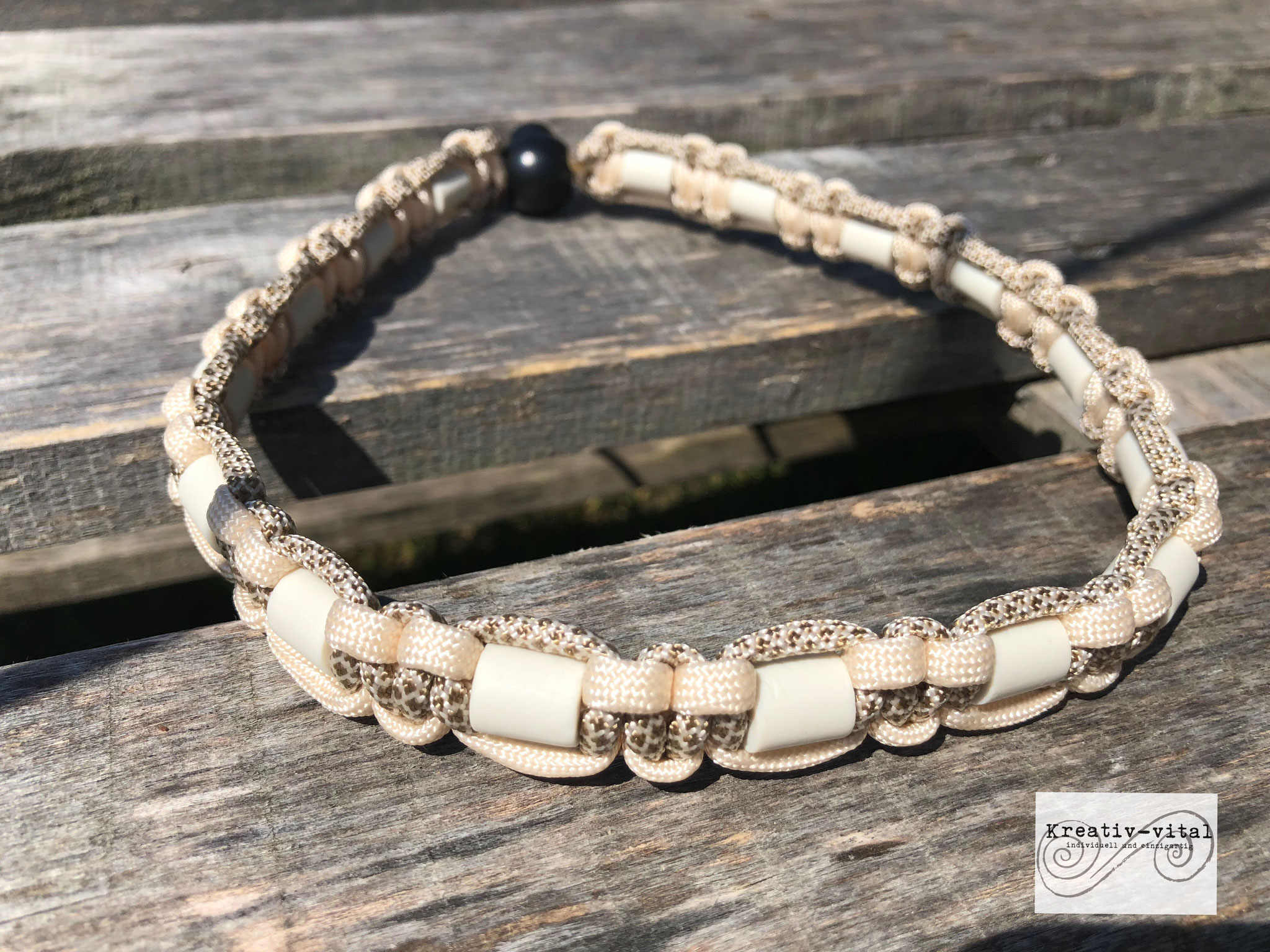 EM Keramik Halsband für Hund/Katze 46-50cm Halsumfang cream/goldbraun