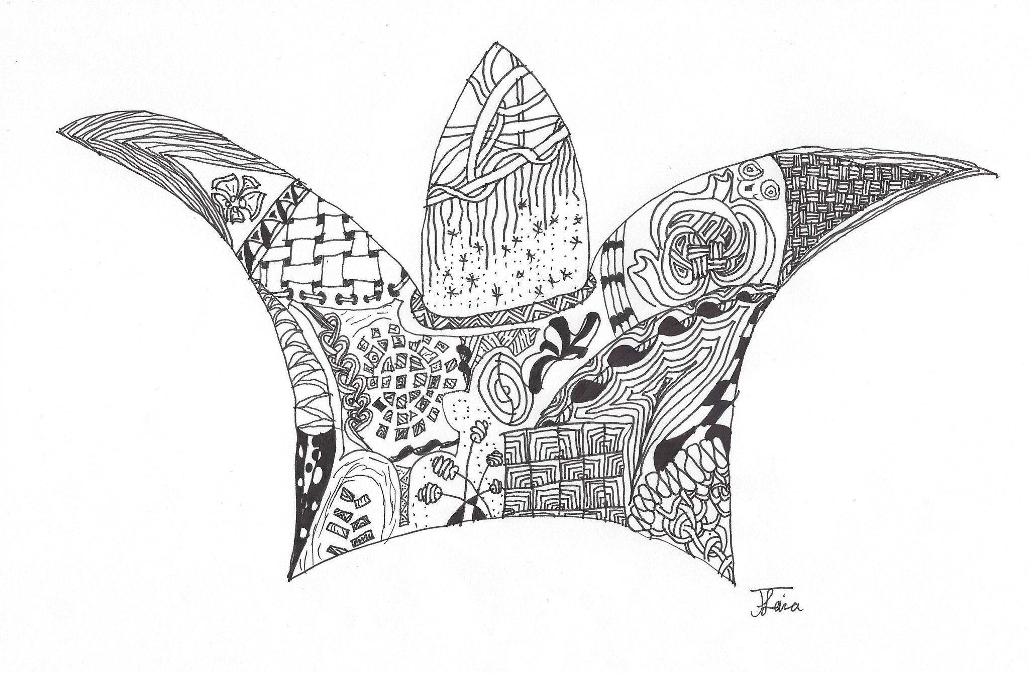 Zentangle-Zeichnung Kind 10 Jährig