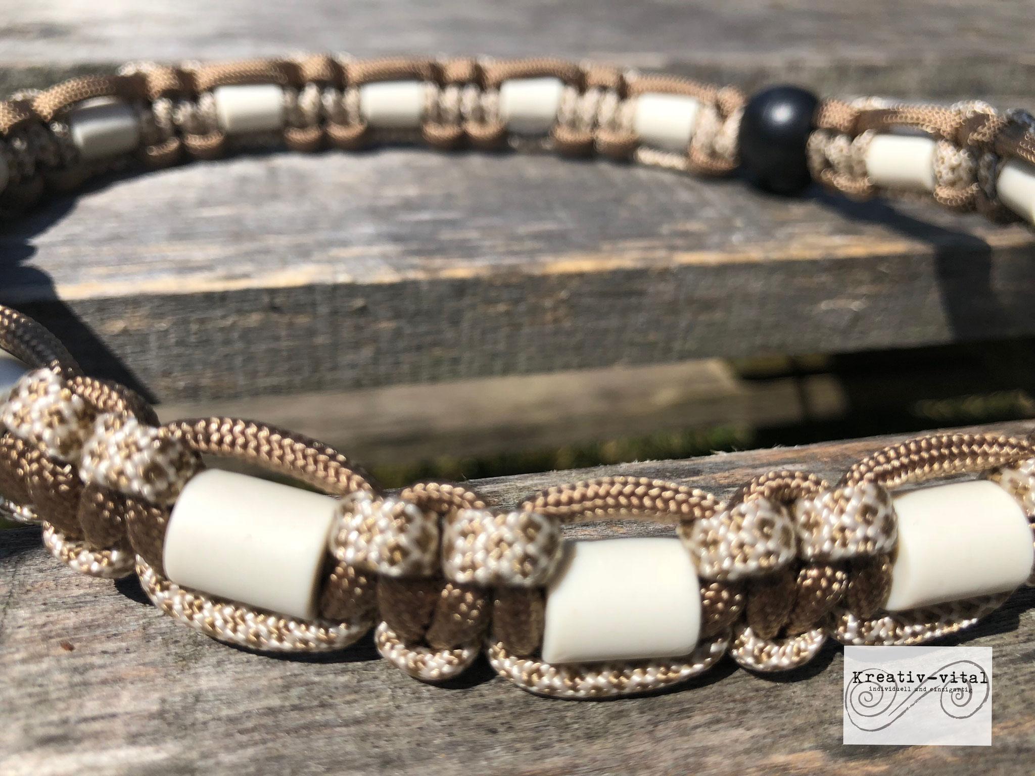 EM Keramik Halsband für Hund/Katze 46-50cm Halsumfang Cream-Braun/Braun