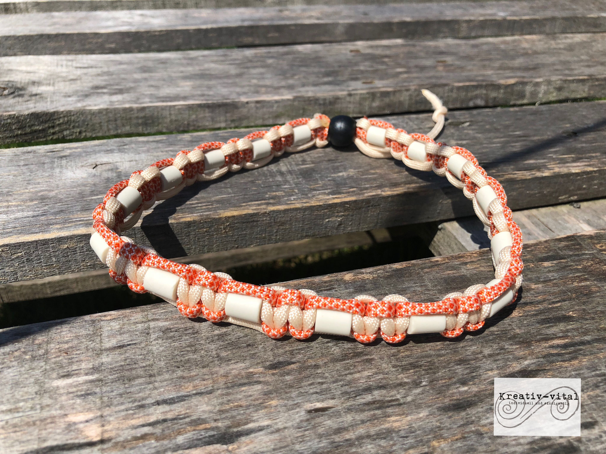EM Keramik Halsband für Hund/Katze 46-50cm Halsumfang Cream/Orange