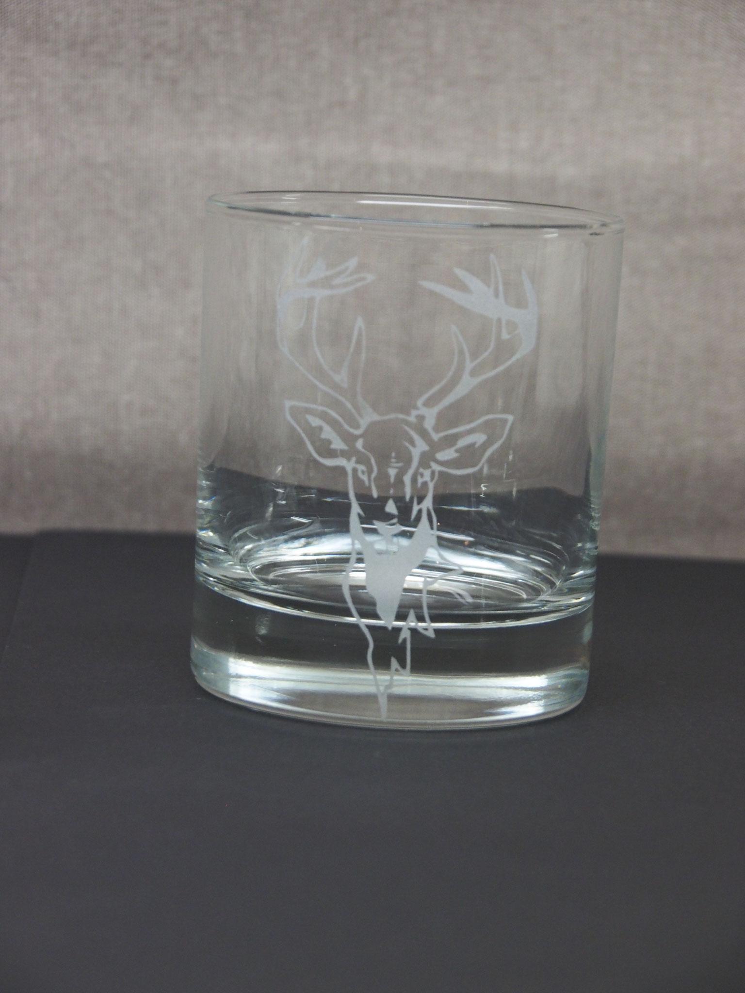 Glas Sandgestrahlt Motiv Hirsch
