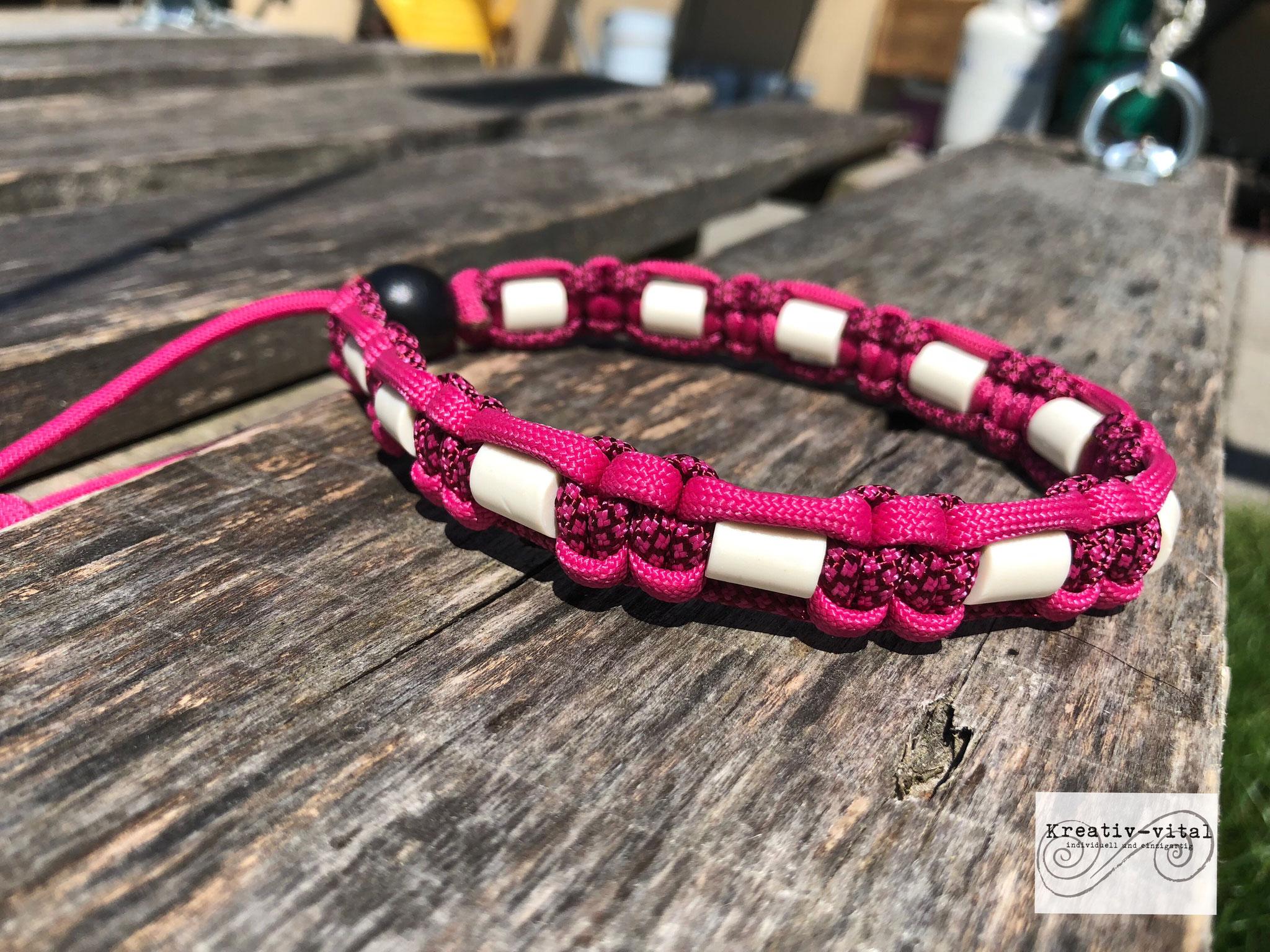 EM Keramik Halsband für Hund/Katze 46-50cm Halsumfang Burgundy/Fuchsia
