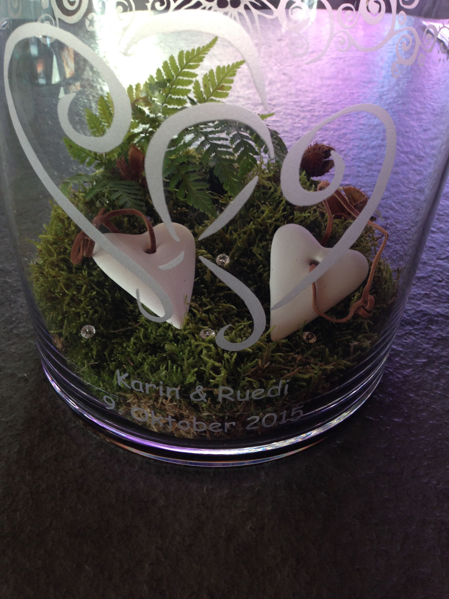 Glas Sandgestrahlt Hochzeitsgeschenk