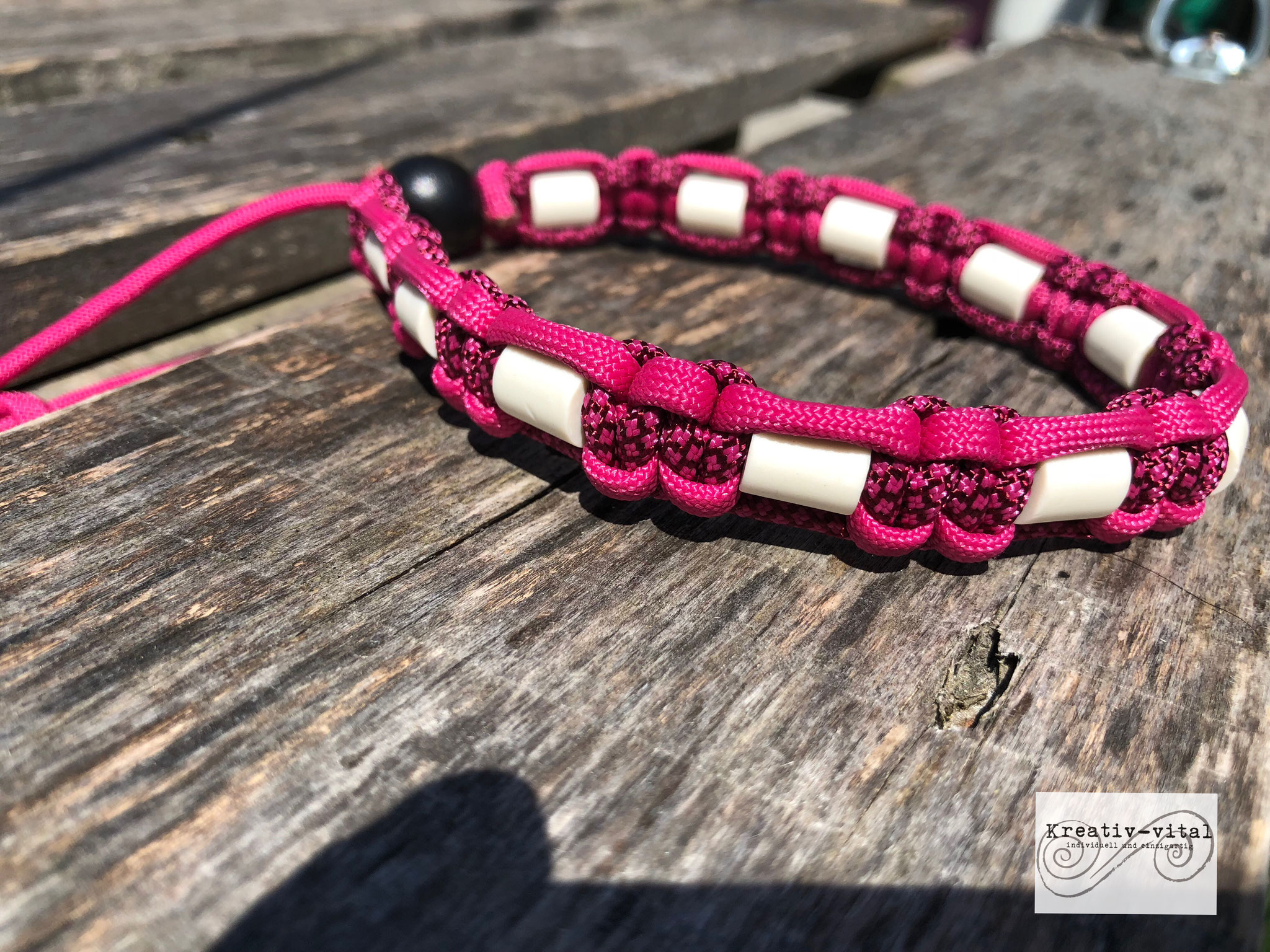 EM Keramik Halsband für Hund/Katze 32-35cm Halsumfang Fuchsia/Burgundy