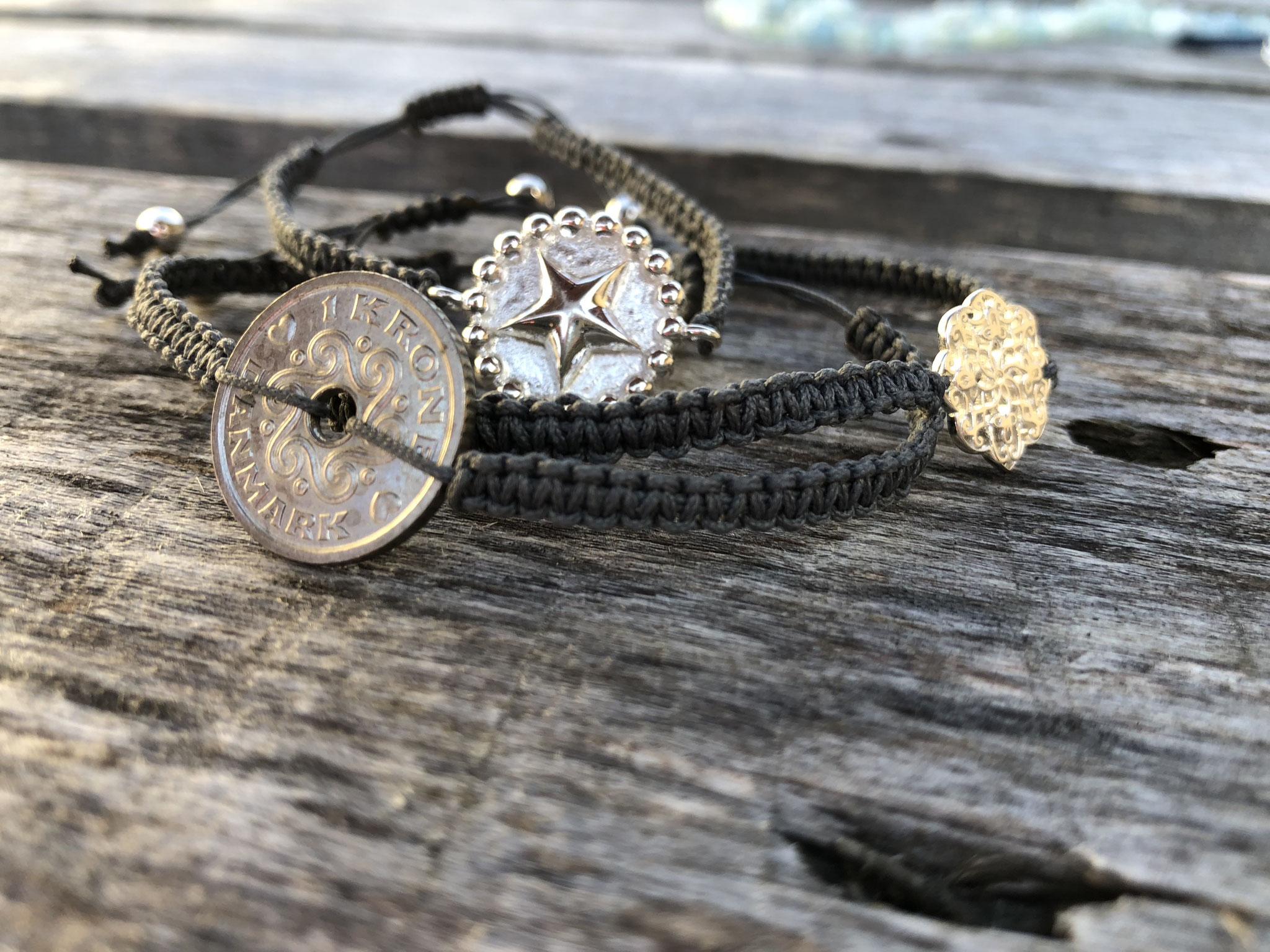 Makramee-Armbänder mit Silber-Verbinder