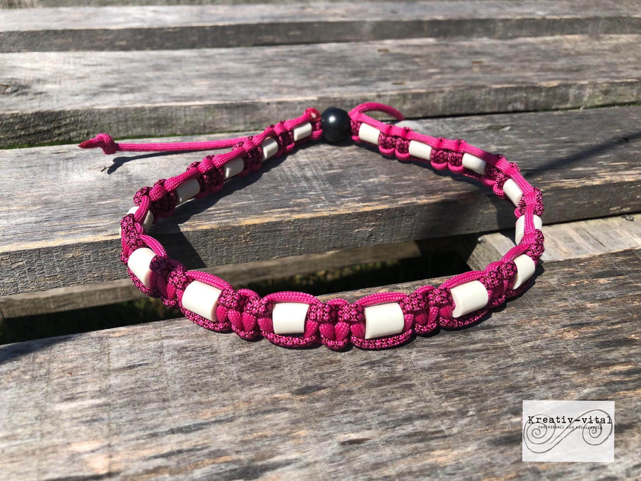 EM Keramik Halsband für Hund/Katze 46-50cm Halsumfang fuchsia/burgundy