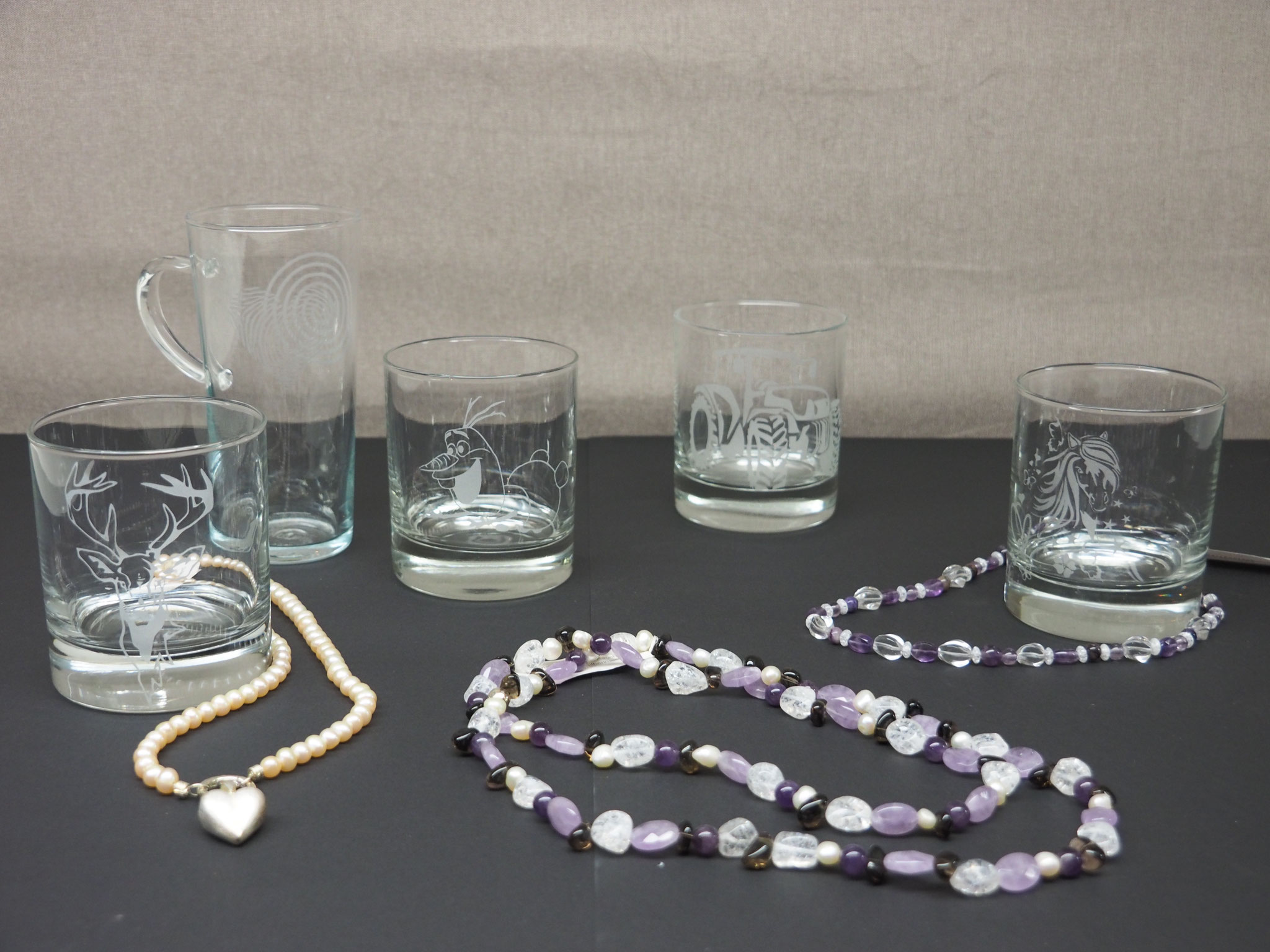 Glas Sandgestrahlt diverse Motive