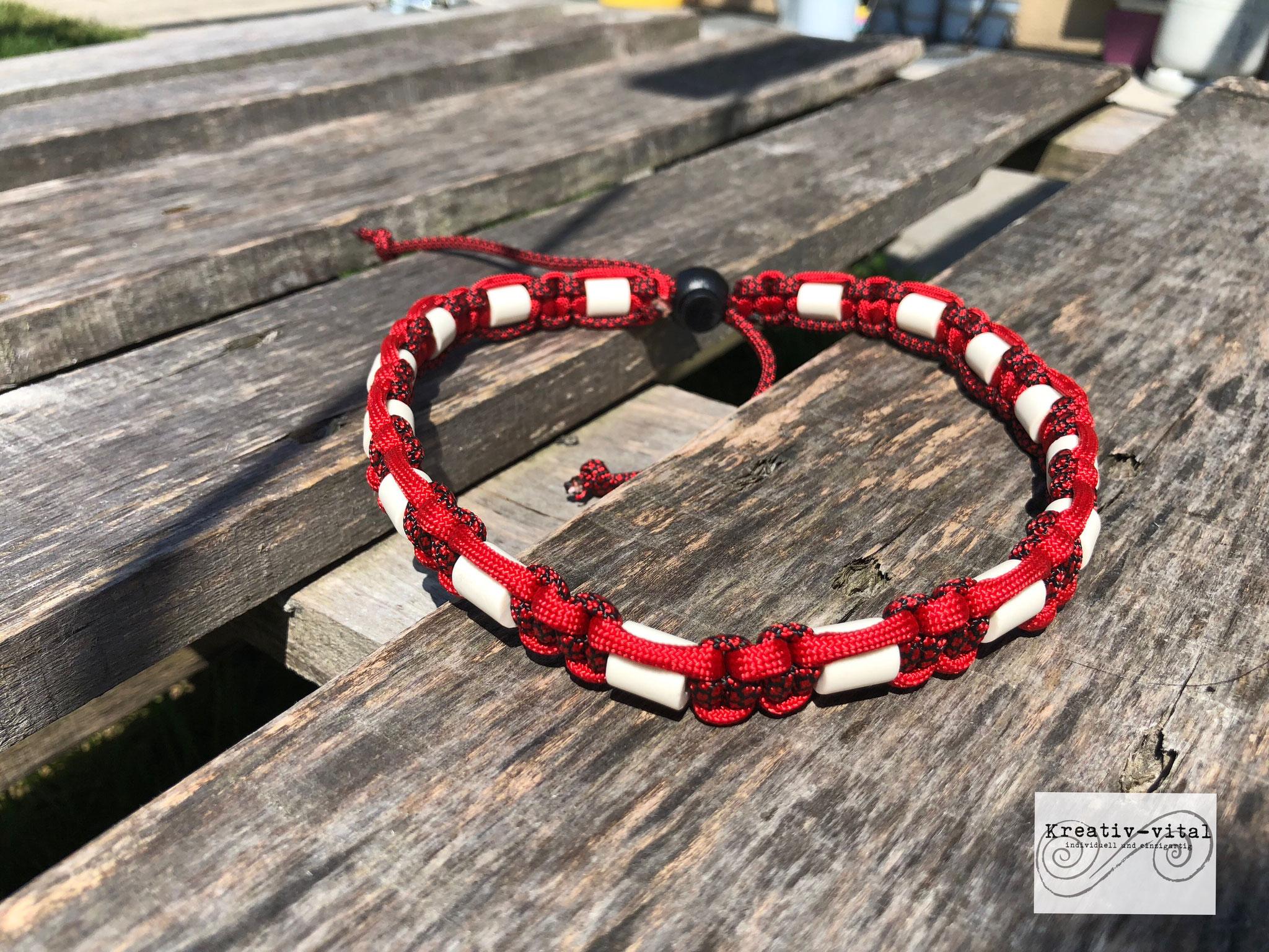 EM Keramik Halsband für Hund/Katze 46-50cm Halsumfang Red/Red-Black