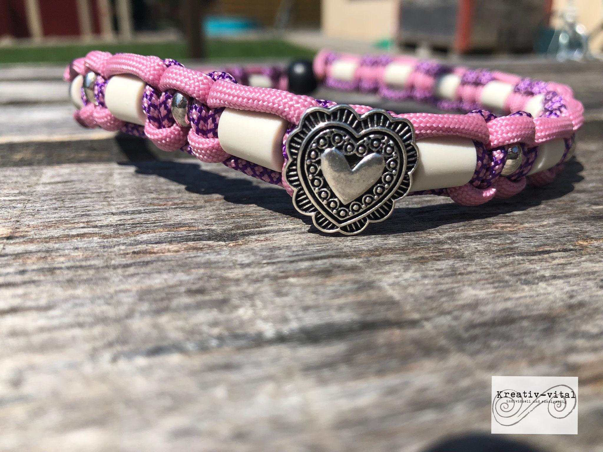 EM Keramik Halsband für Hund/Katze 46-50cm Halsumfang Lavendel/Lila