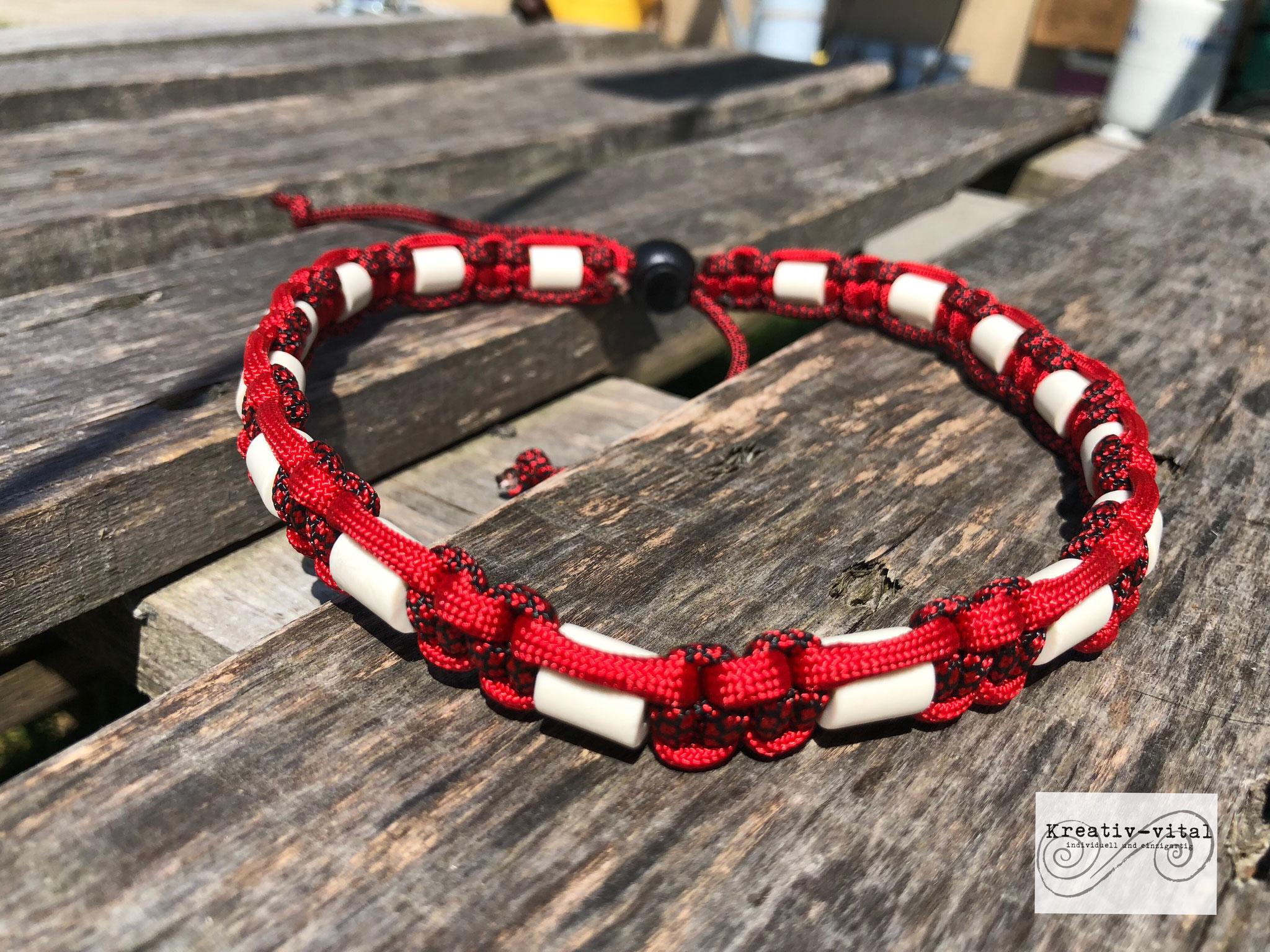 EM Keramik Halsband für Hund/Katze 46-50cm Halsumfang Red/RedBlack