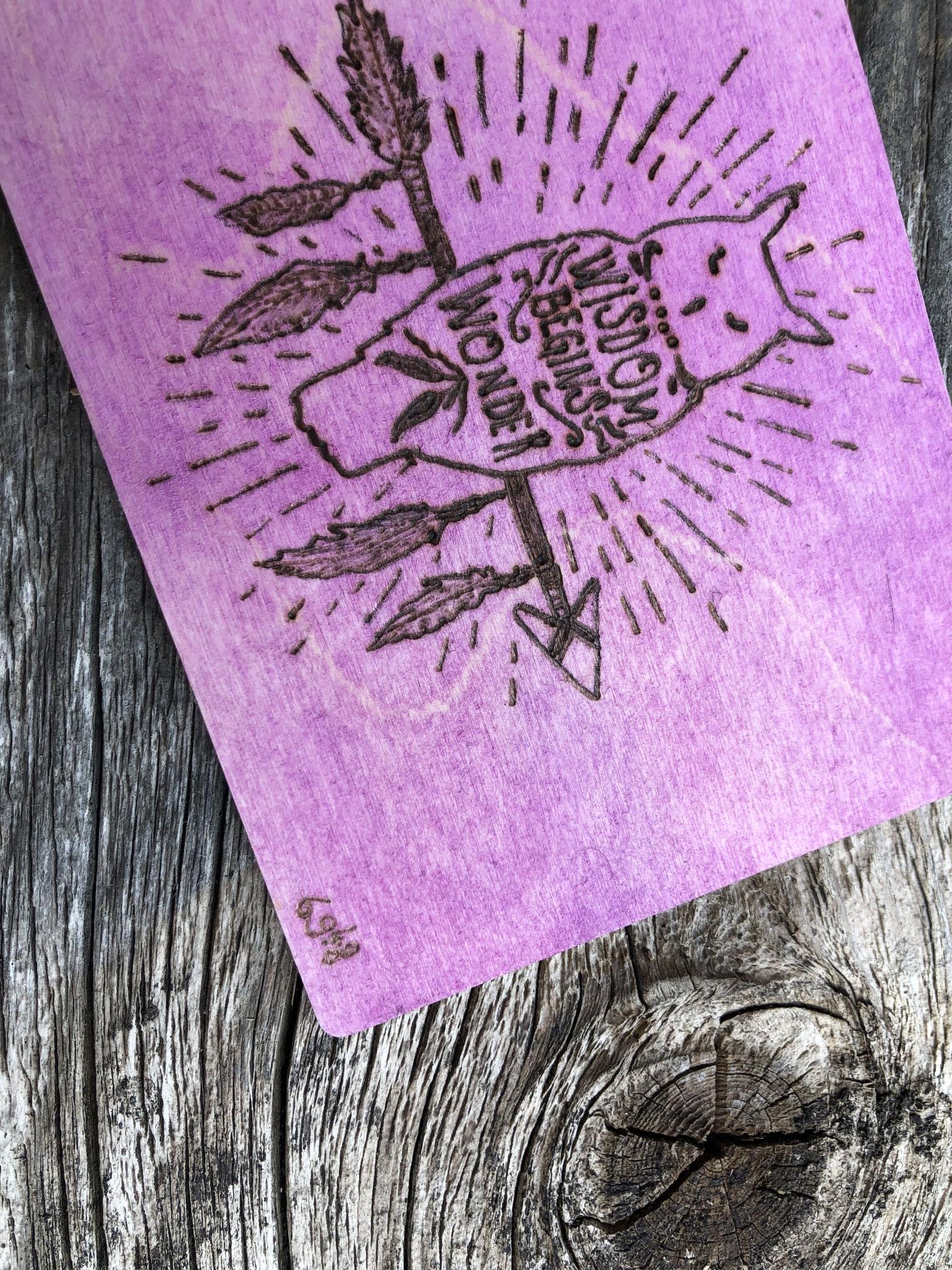 Holz-Postkarte Brandgemalen