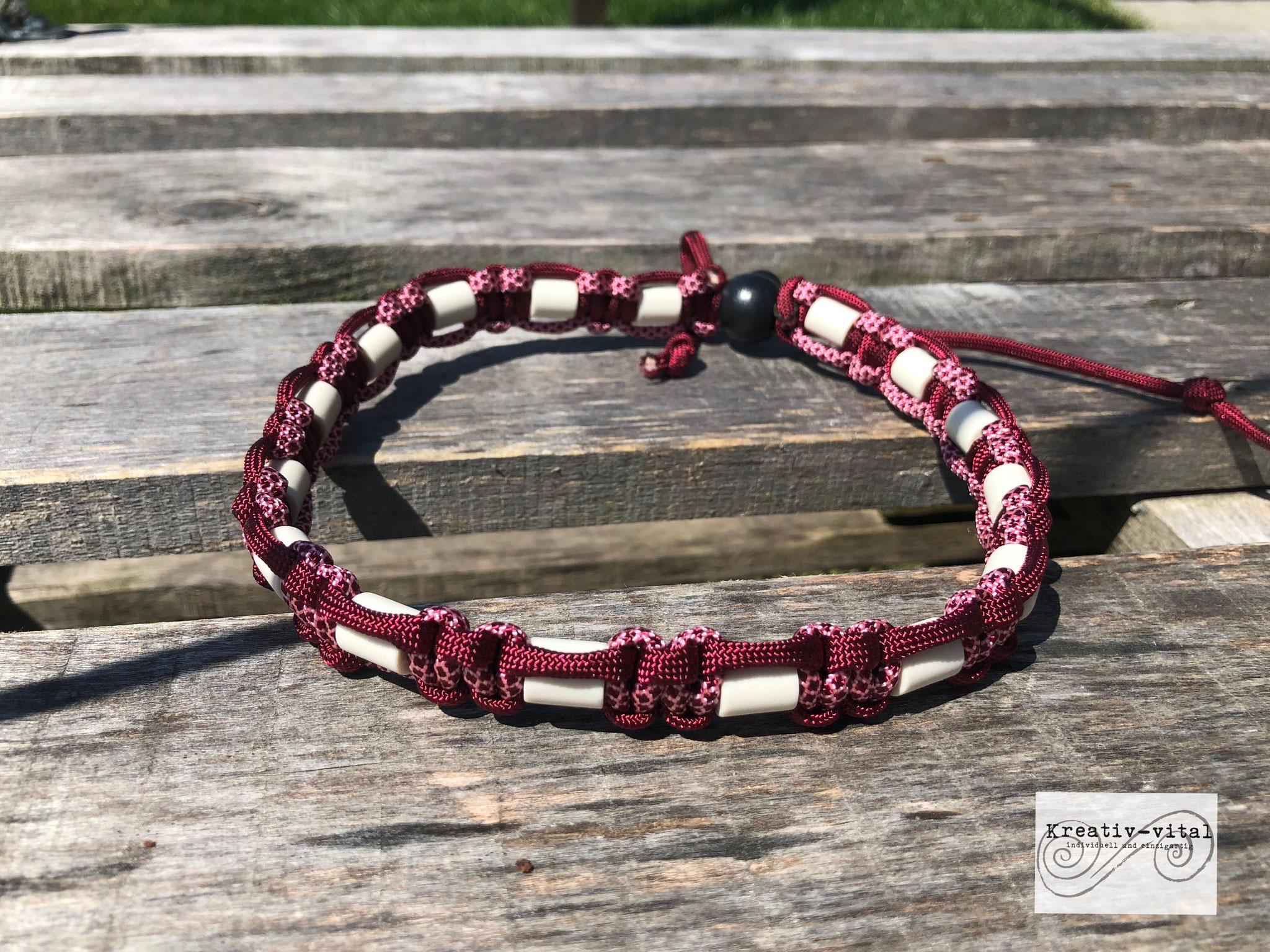 EM Keramik Halsband für Hund/Katze 46-50cm Halsumfang burgundy/rose-pink burgundy