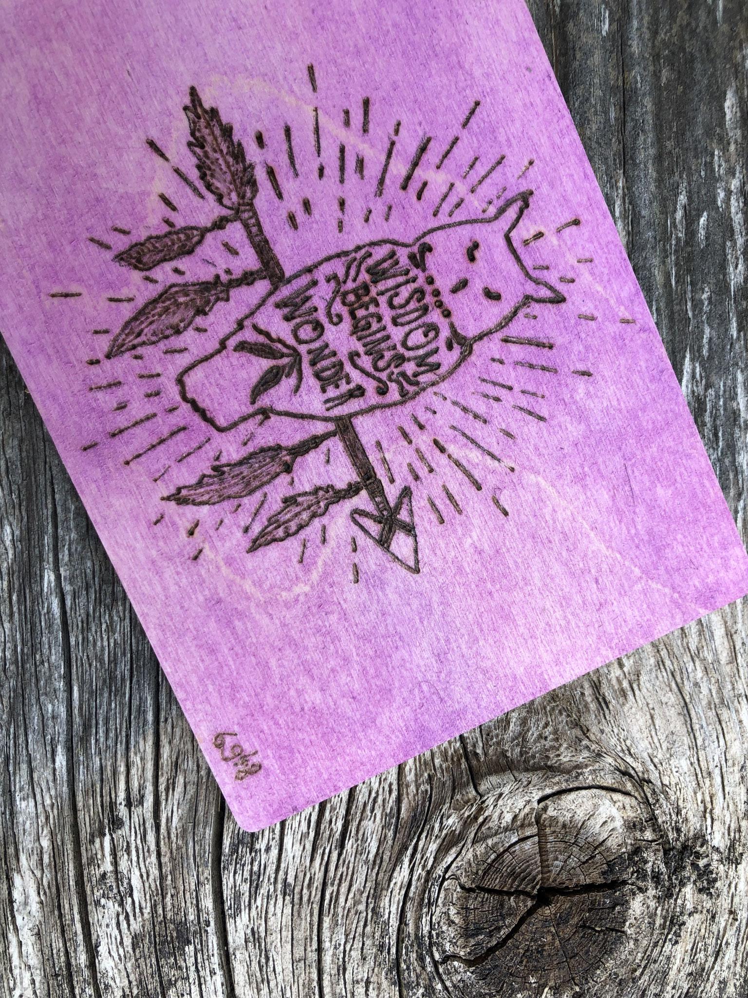 Holz-Postkarte gebrannt