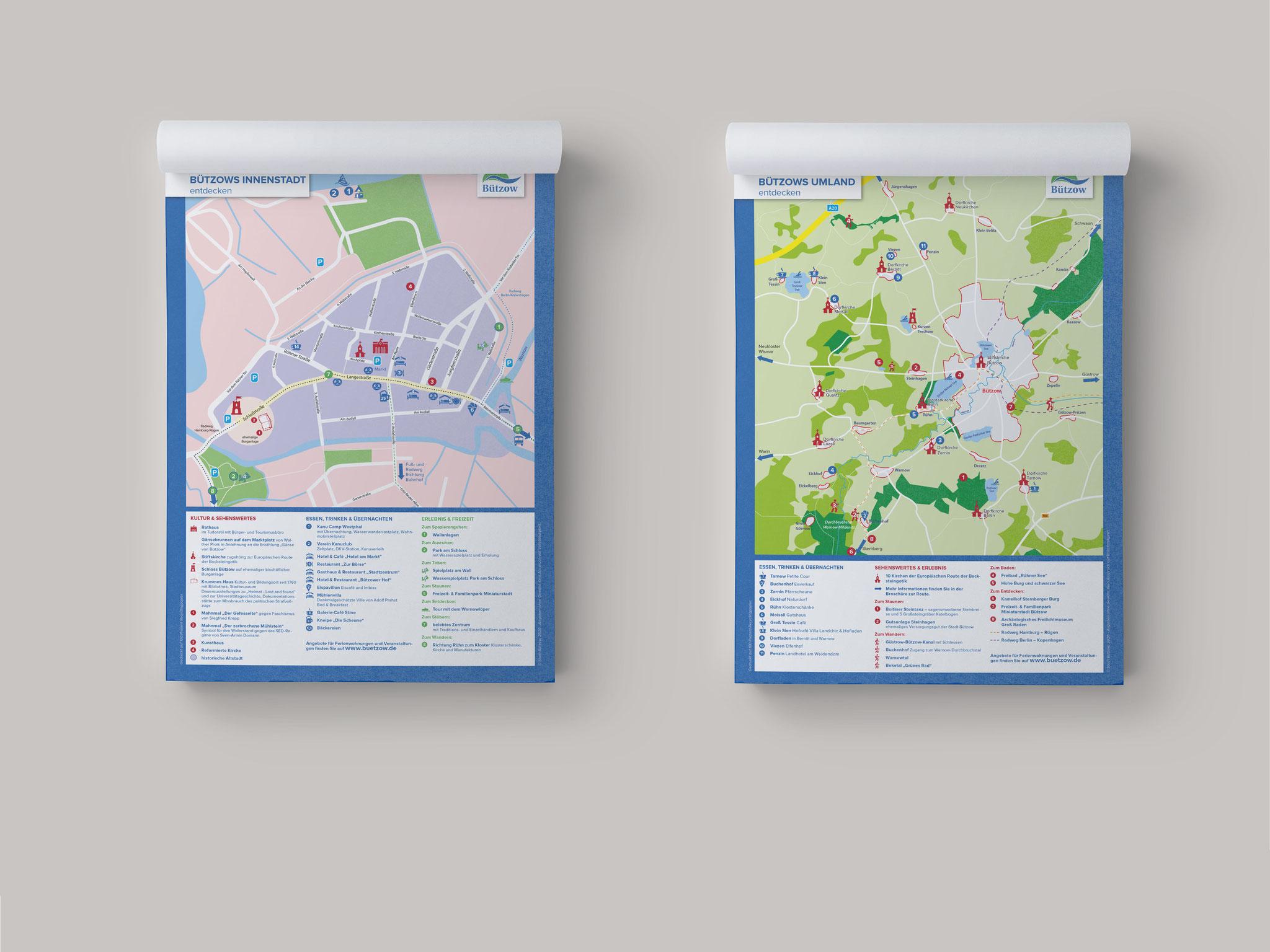 Stadt Bützow - Stadtplan Bützows Innenstadt und Umland