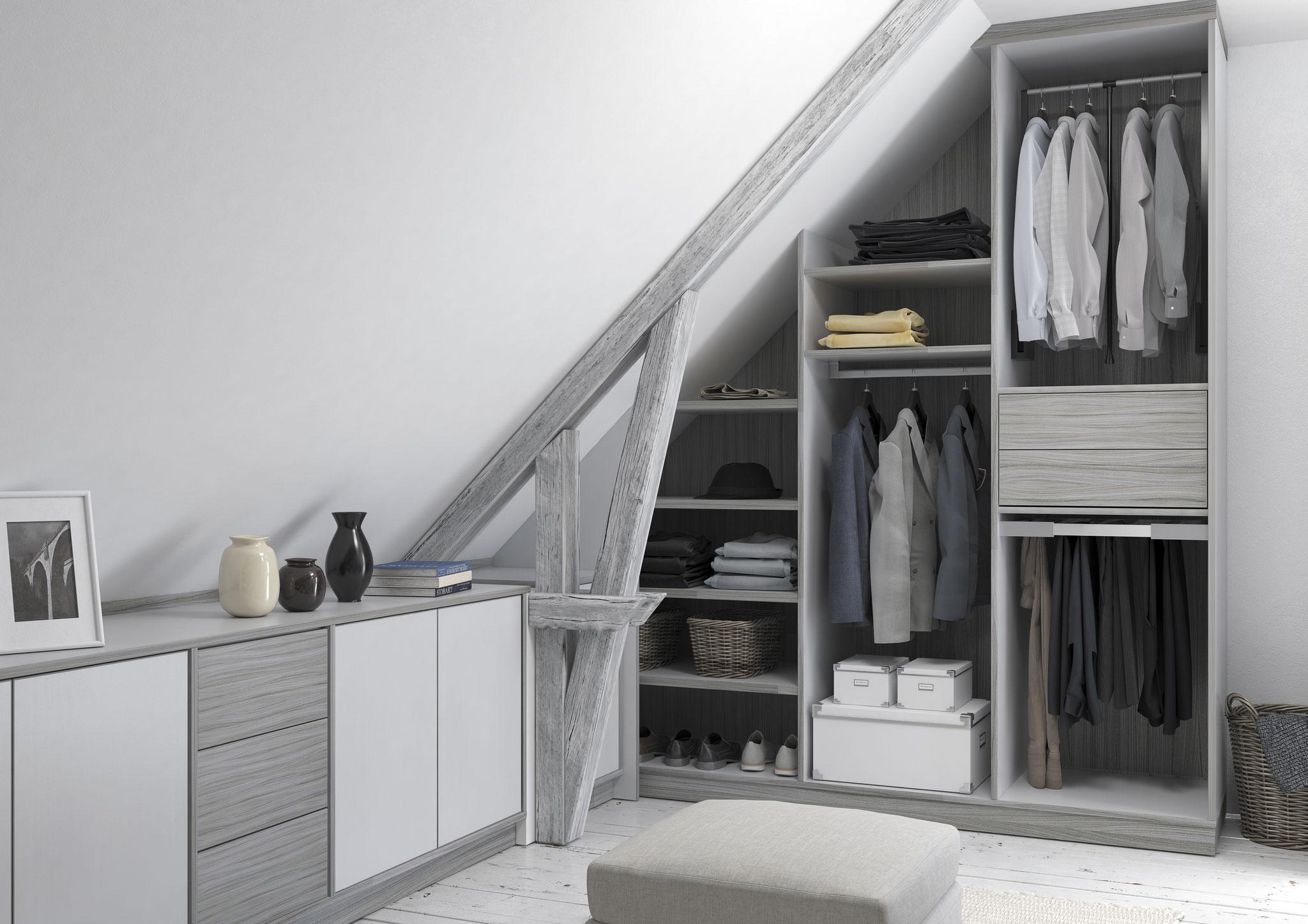 Dressing Pièce Sous Pente agencement chc - rangement - dressing - placard - mobilier