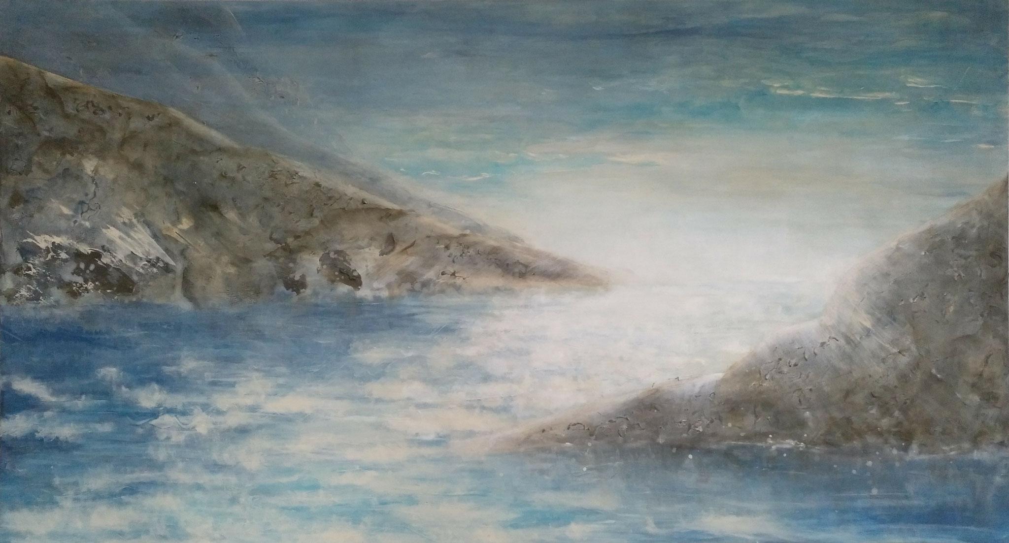 Wolken, Licht und Meer - 76 x 140 - Acryl auf Leinwand - Auftragswerk, verkauft
